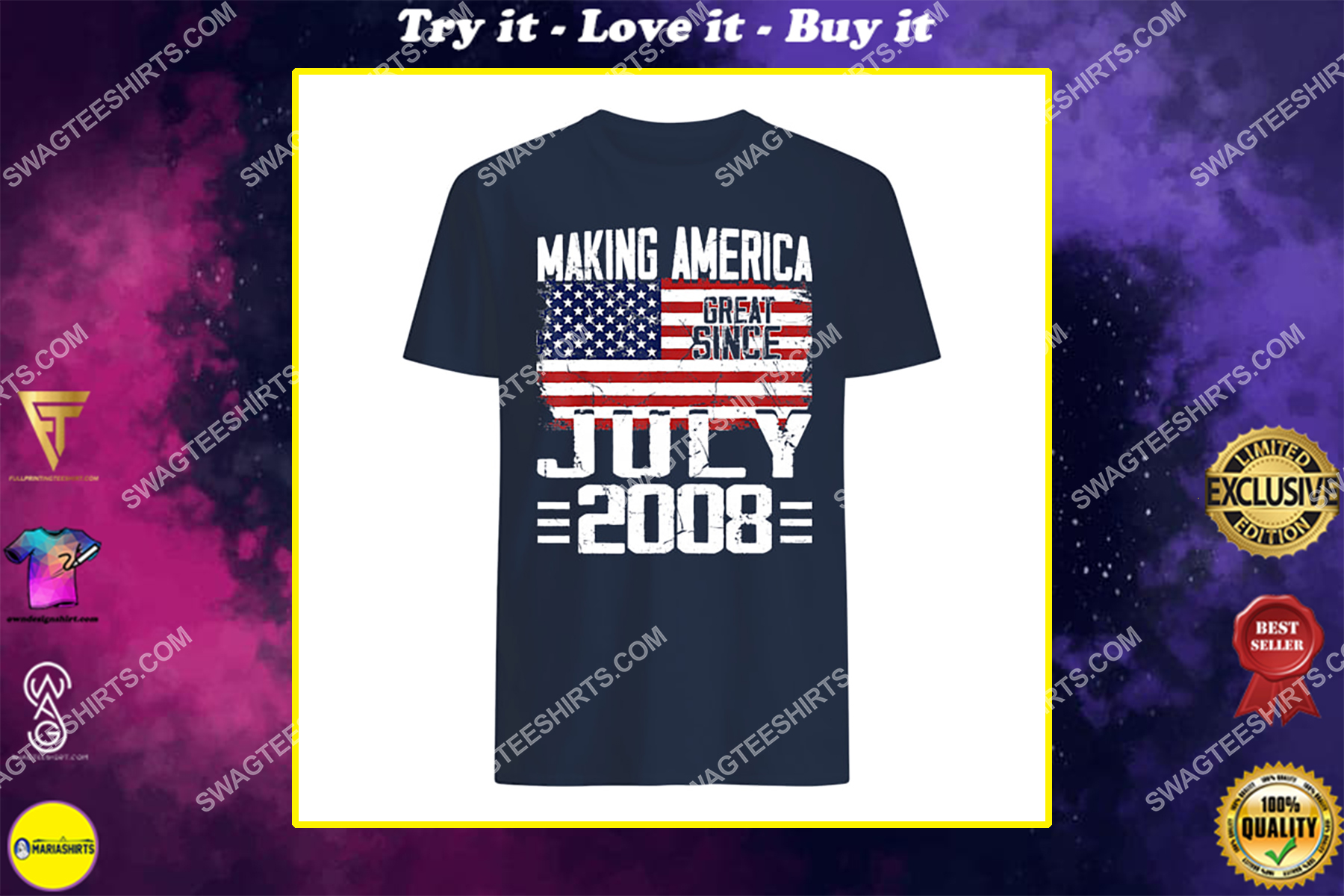 13th birthday gift july 2008 american flag 13 years old happyindependence day shirt