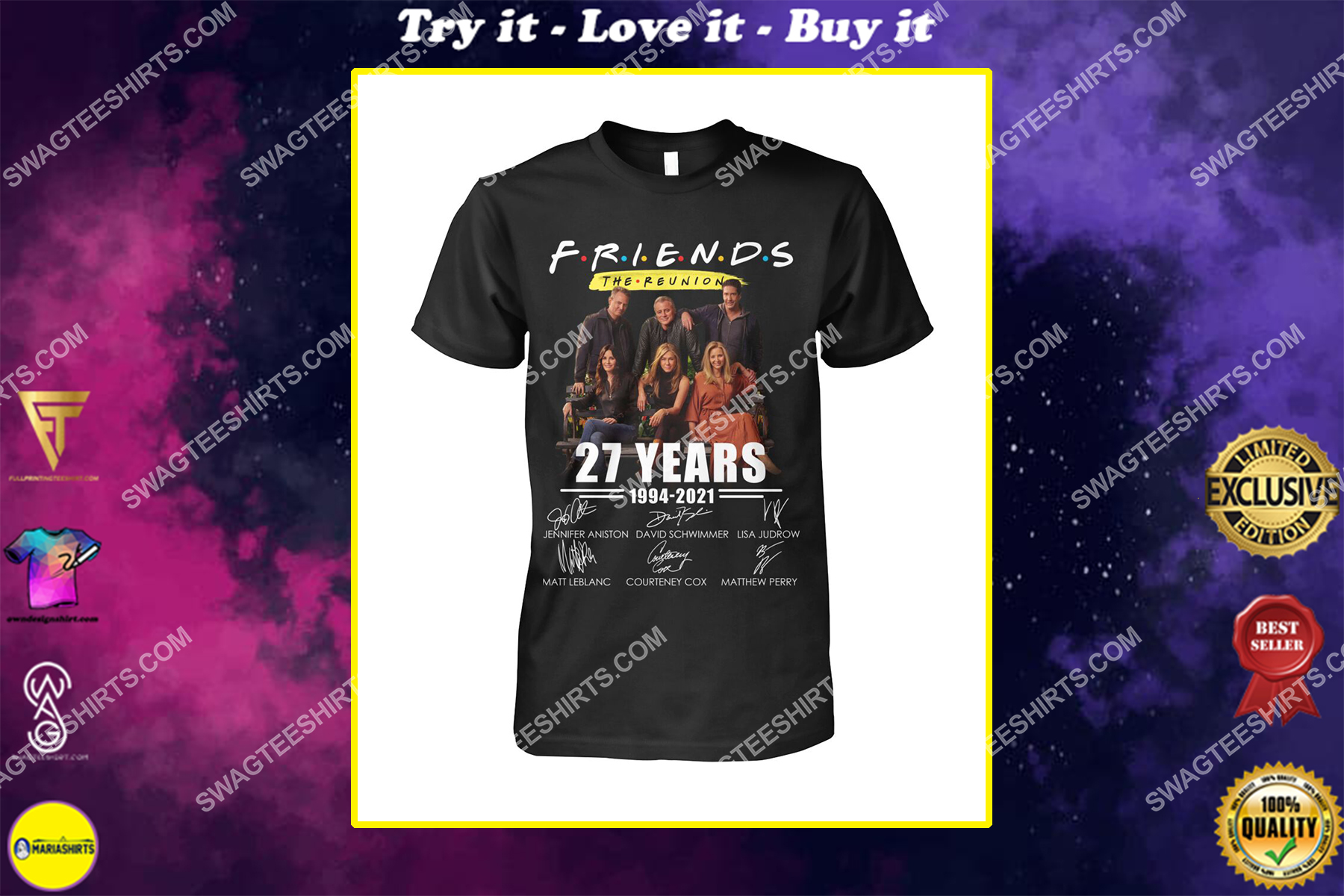 27 years of 1994 2021 friends tv show signatures shirt