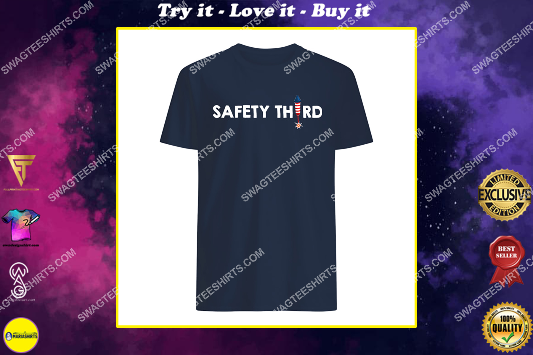 4th of july patriotic fireworks firecrackers safety third shirt