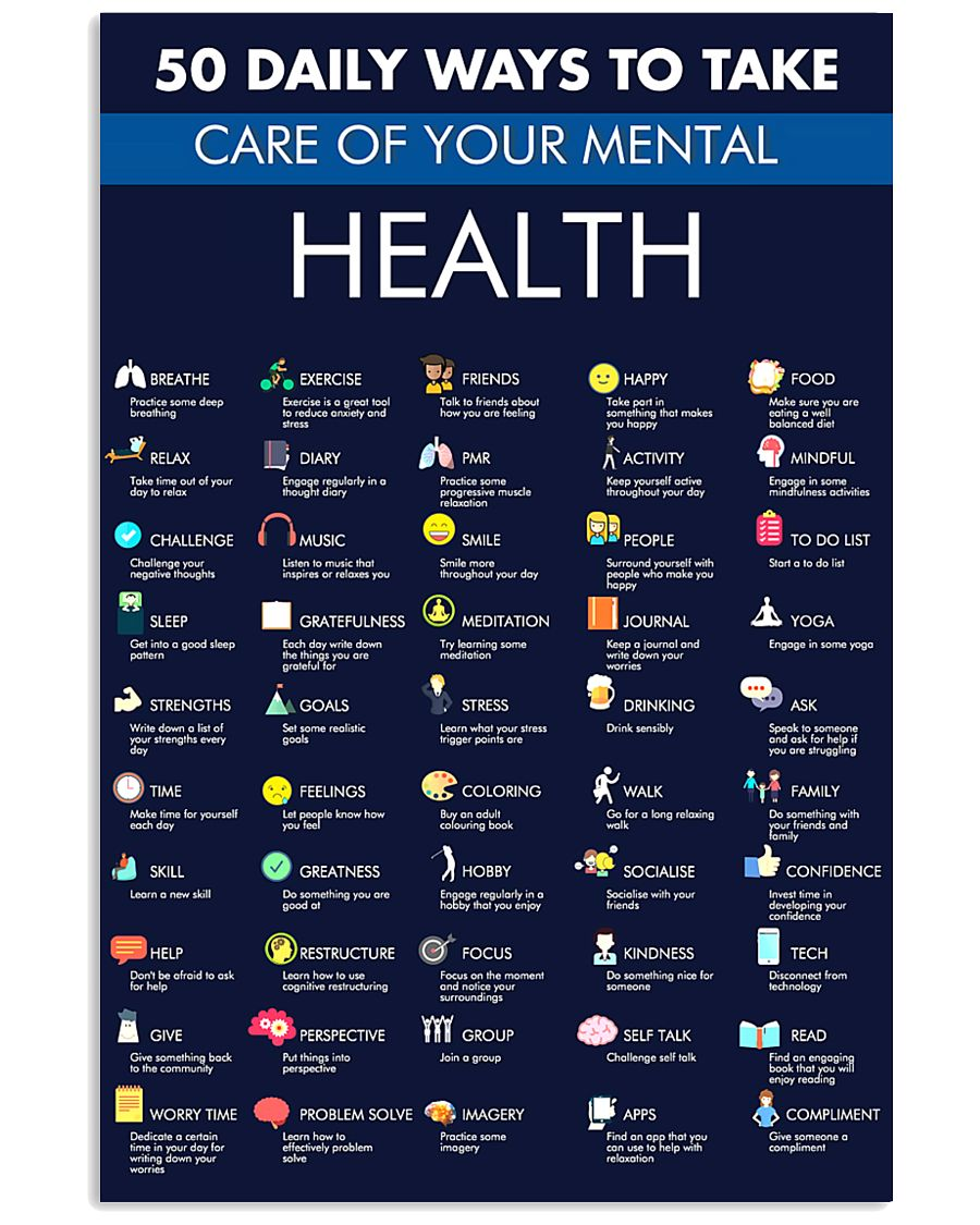 50 daily ways to take care your mental health poster 2