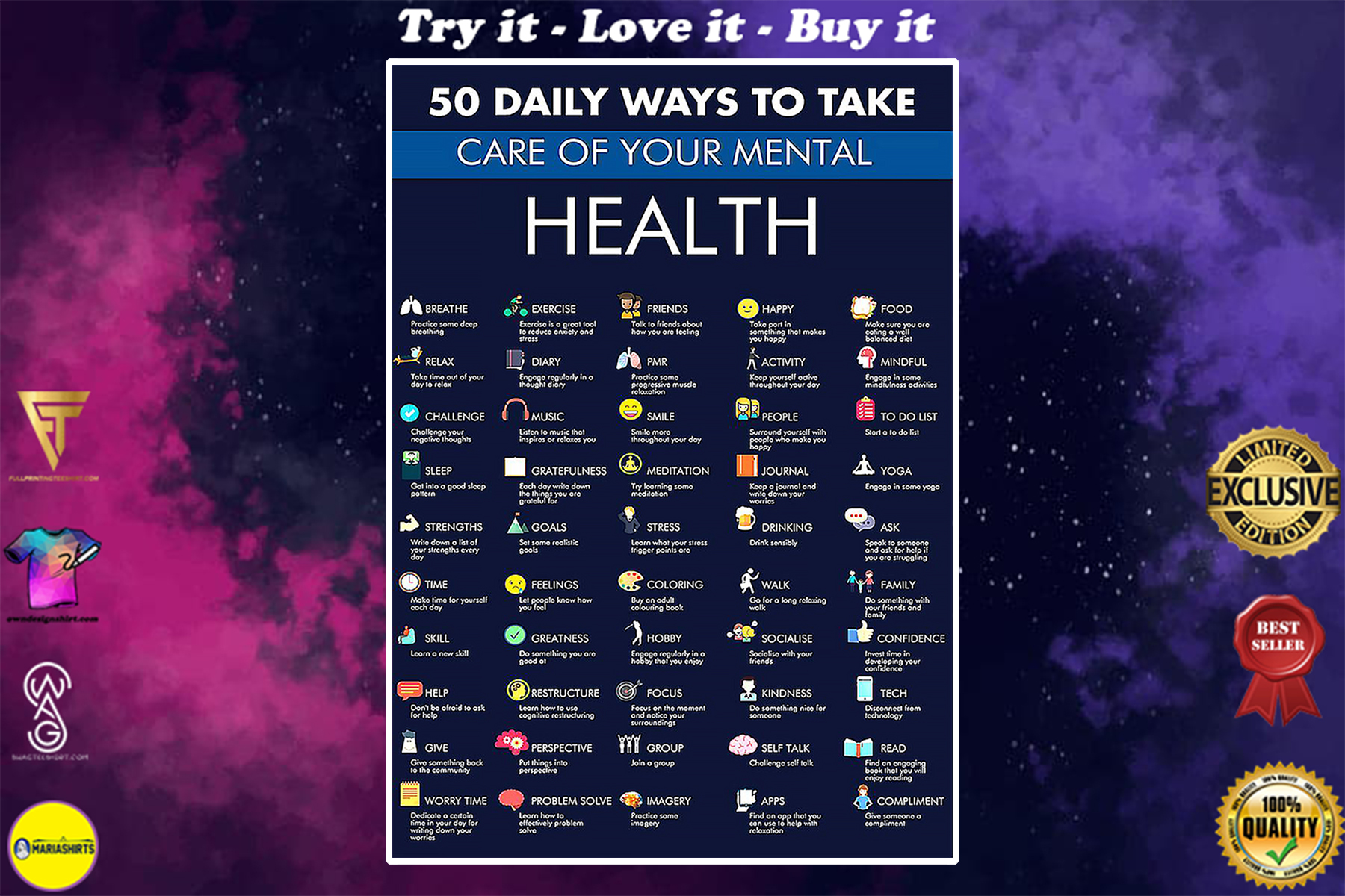 50 daily ways to take care your mental health poster