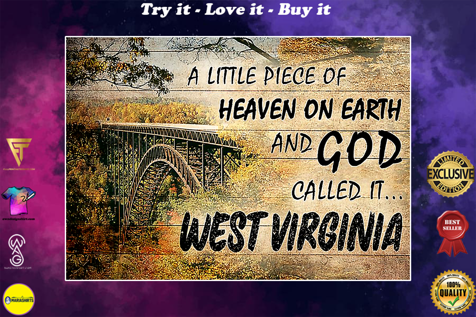 A little piece of heaven on earth and God called it west virginia vintage poster