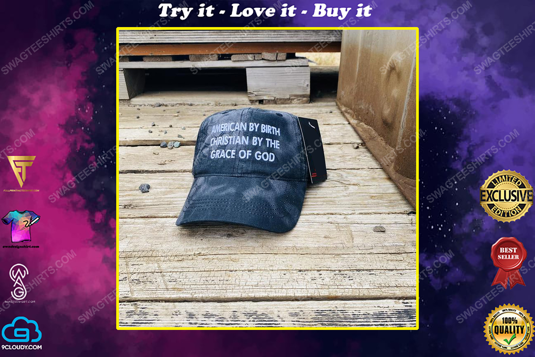 American by birth Christian by the grace of God full print classic hat