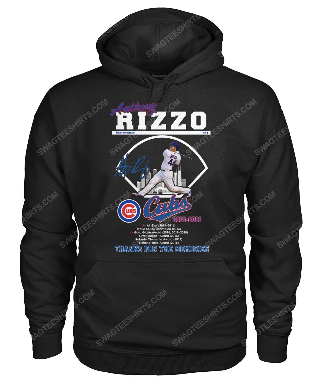 Anthony rizzo chicago cubs thanks for the memories hoodie 1