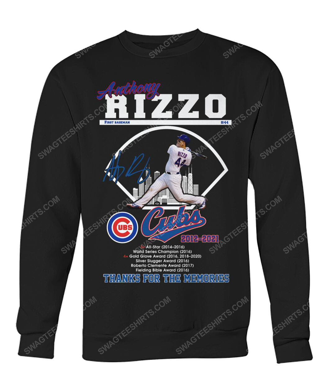 Anthony rizzo chicago cubs thanks for the memories sweatshirt 1