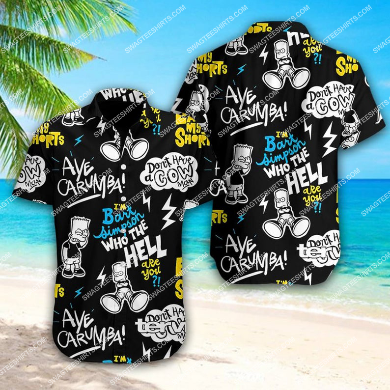 Bart simpson who the hell summer vacation hawaiian shirt 1