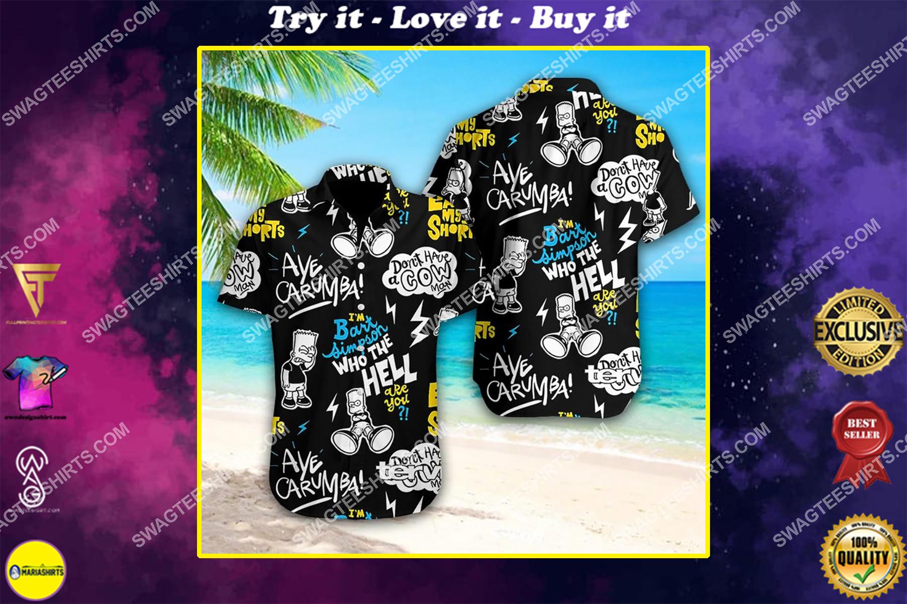 Bart simpson who the hell summer vacation hawaiian shirt