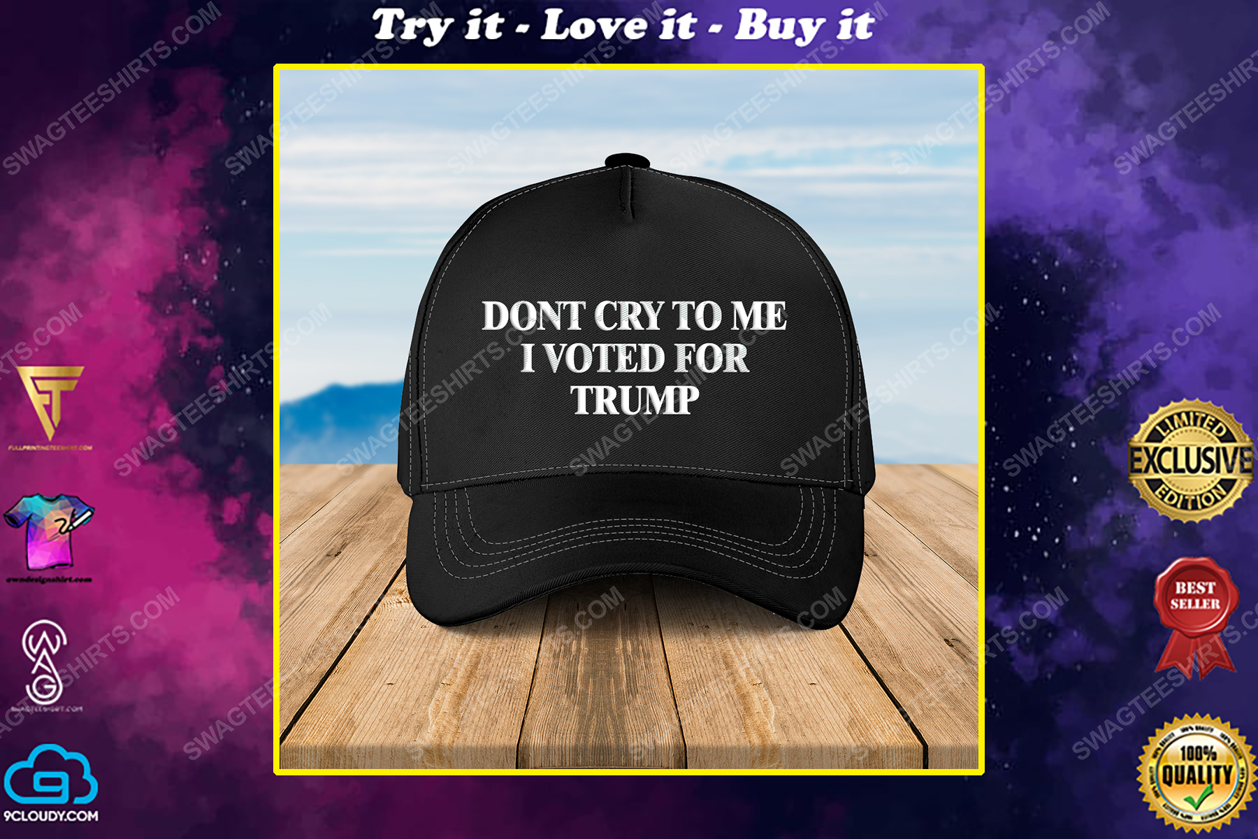 Camo don't cry to me i voted for trump full print classic hat