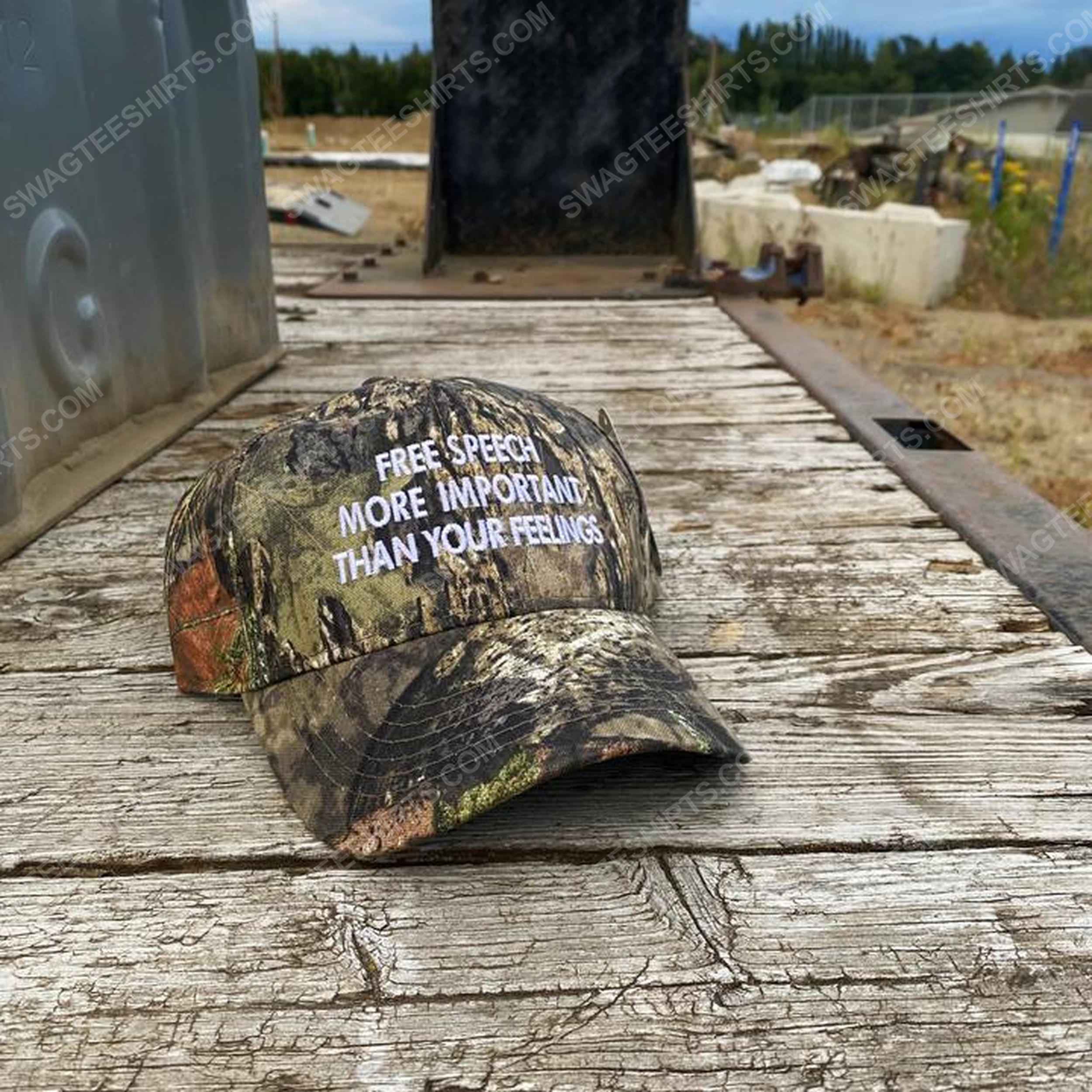 Camo free speech more important than your feelings full print classic hat 1