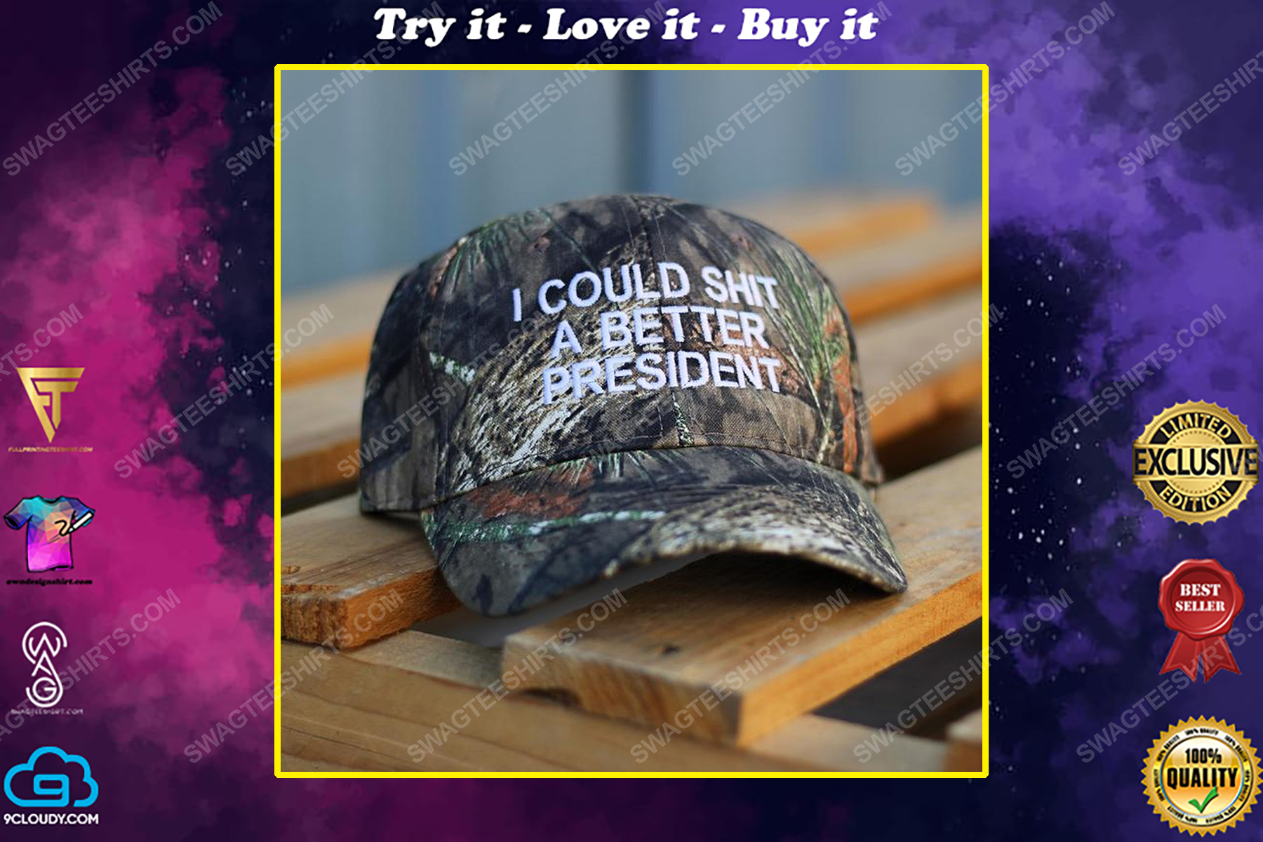 Camo i could shit a better president full print classic hat