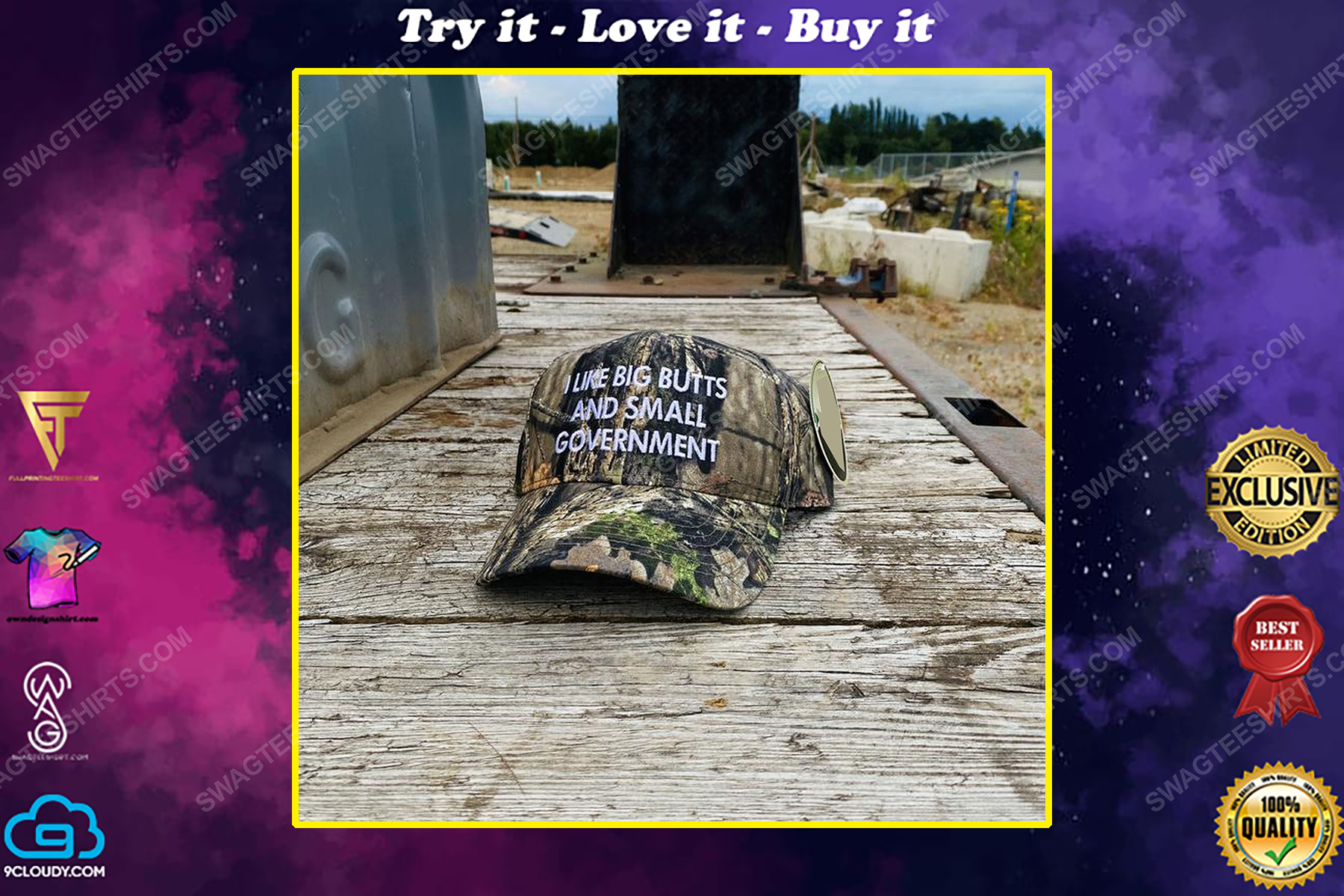 Camo i like big butts and small government full print classic hat