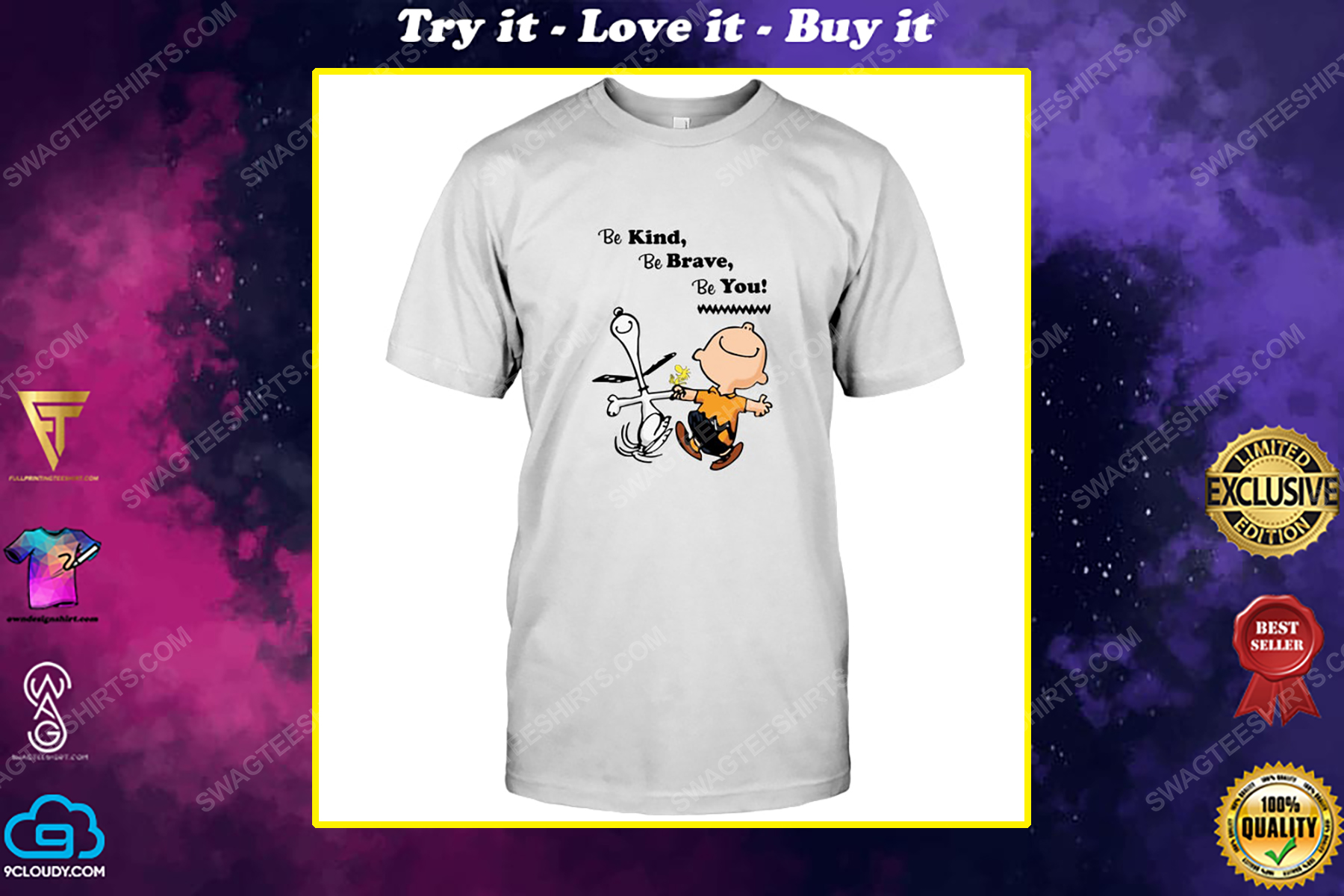 Charlie brown and snoopy be kind be brave be you shirt