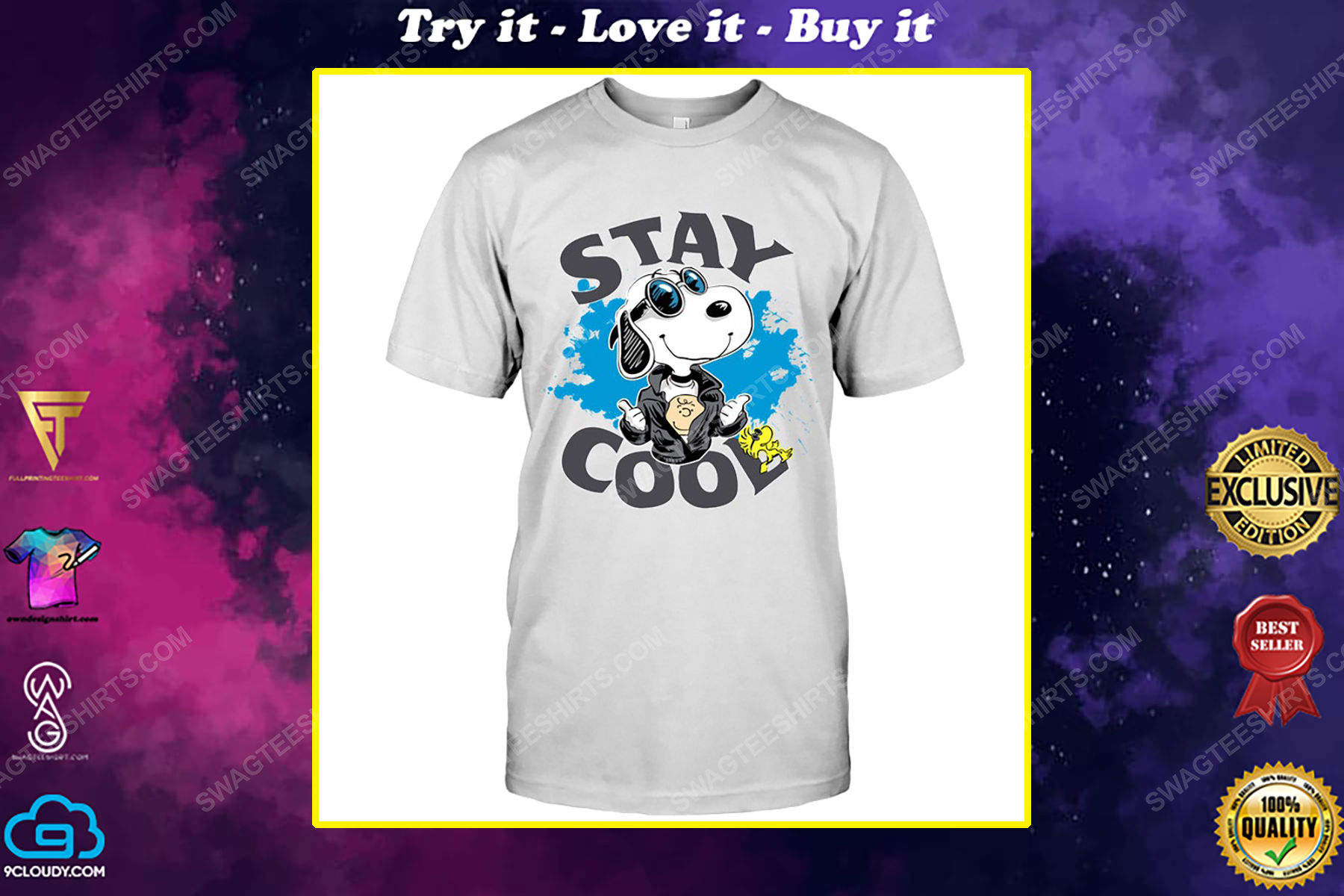 Charlie brown snoopy and woodstock stay cool shirt