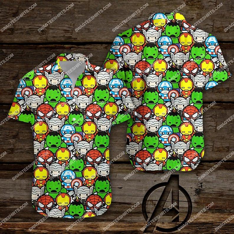 Chibi the avengers marvel comics hawaiian shirt 1