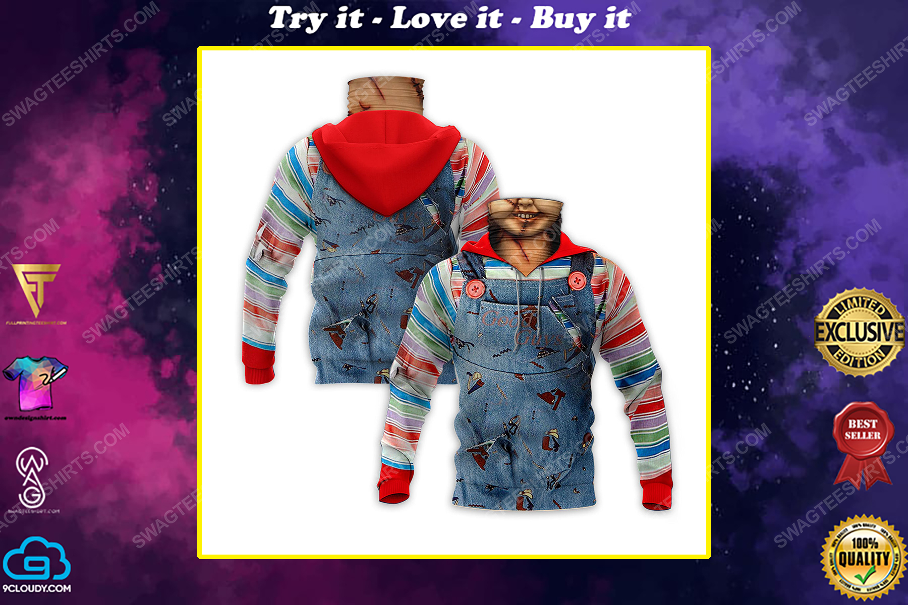 Chucky child's play for halloween full print mask hoodie