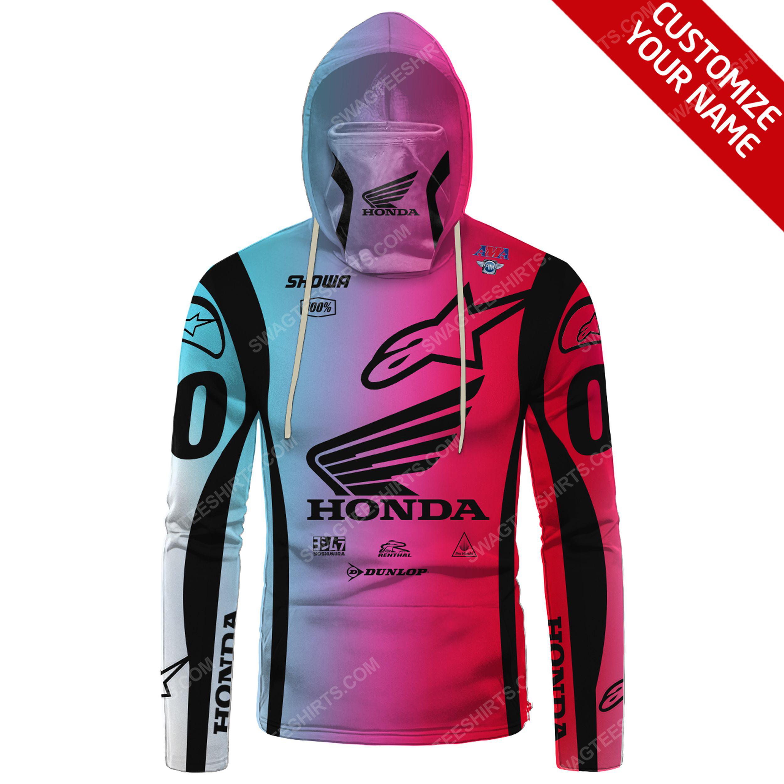 Custom name colorful honda dunlop race full print mask hoodie 2(1)