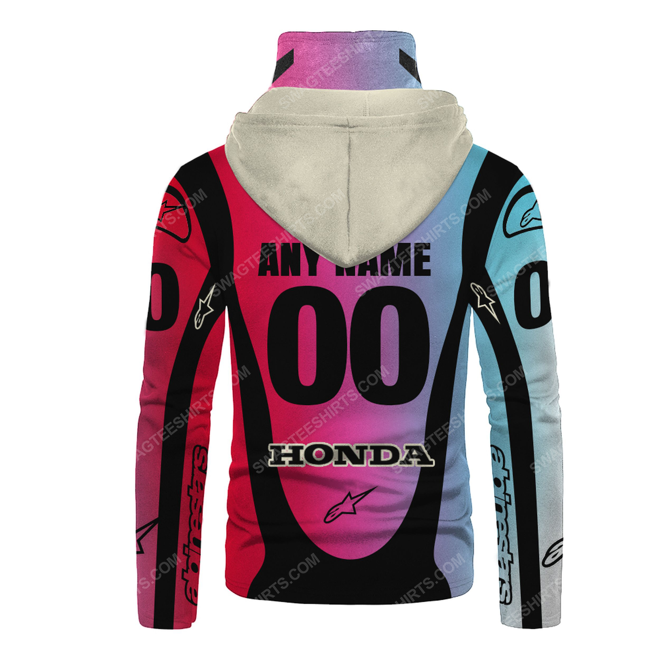 Custom name colorful honda dunlop race full print mask hoodie 3(1)