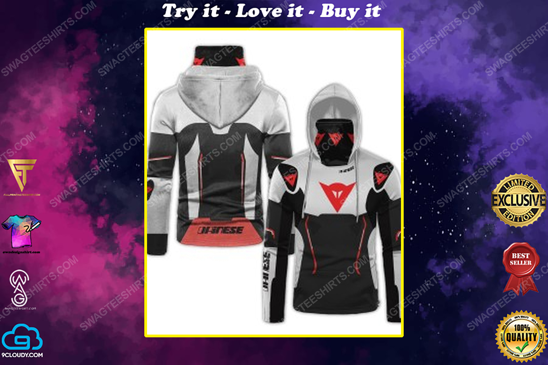Custom name dainese racing full print mask hoodie