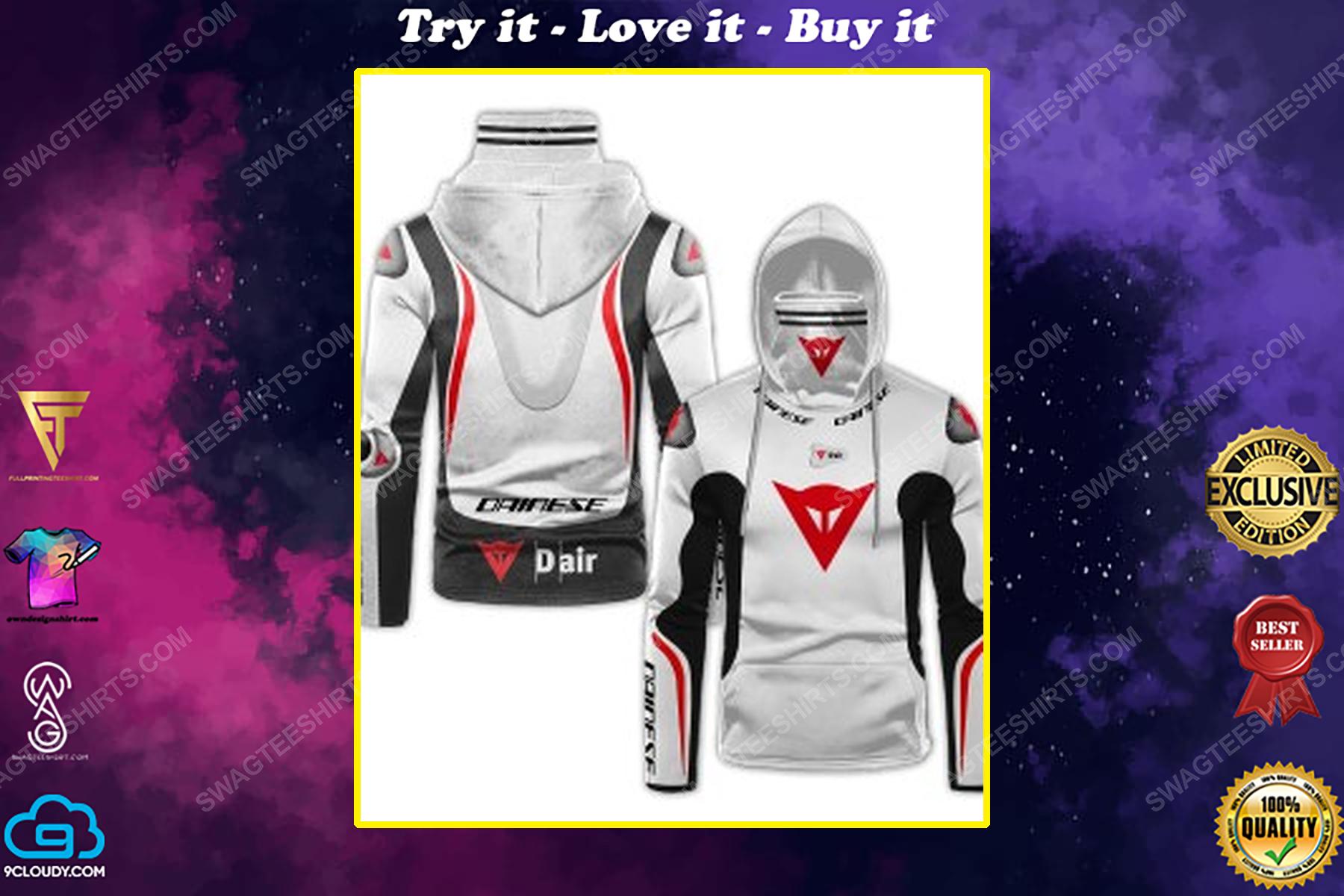 Custom name dainese racing motorcycle full print mask hoodie