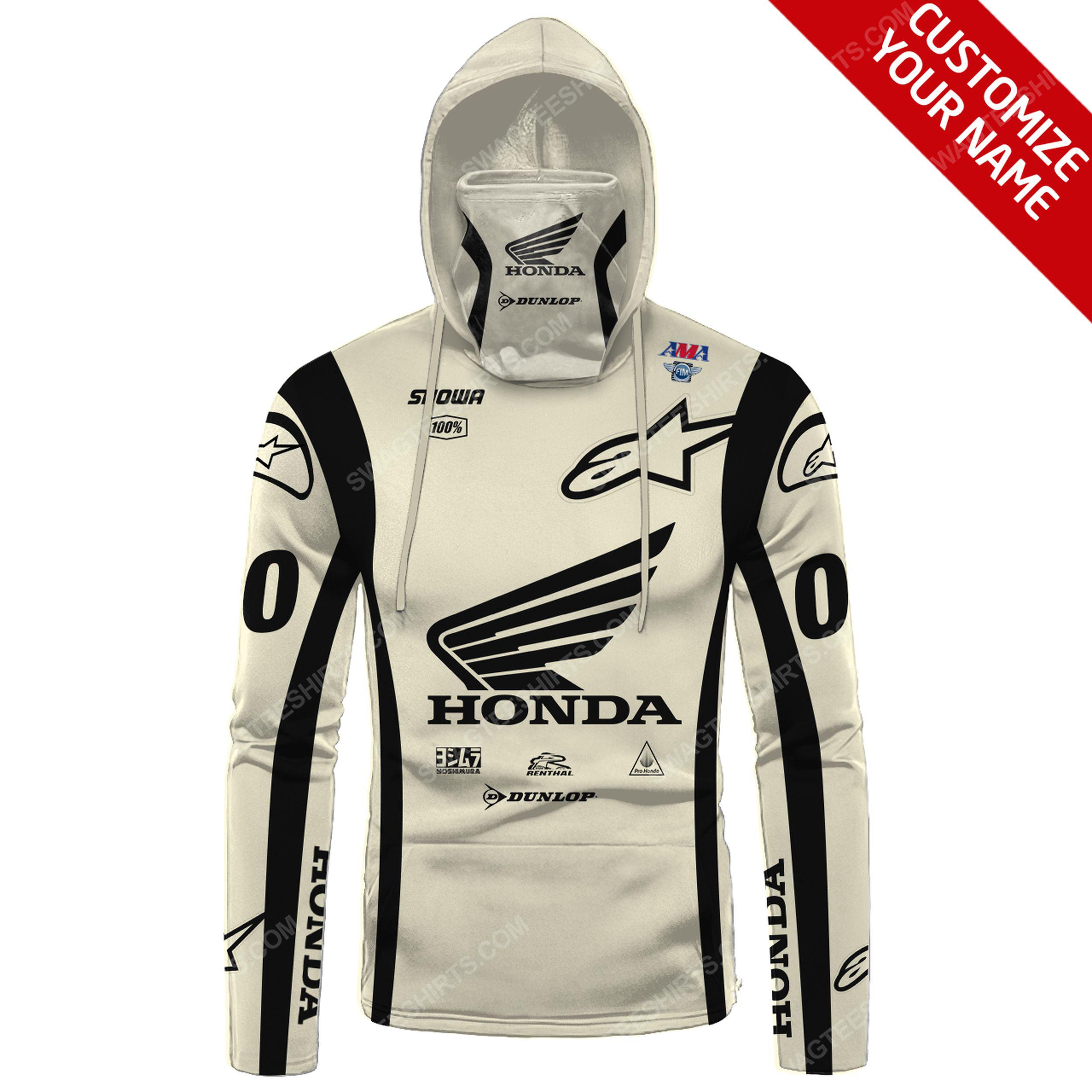 Custom name honda dunlop race full print mask hoodie 2(1) - Copy