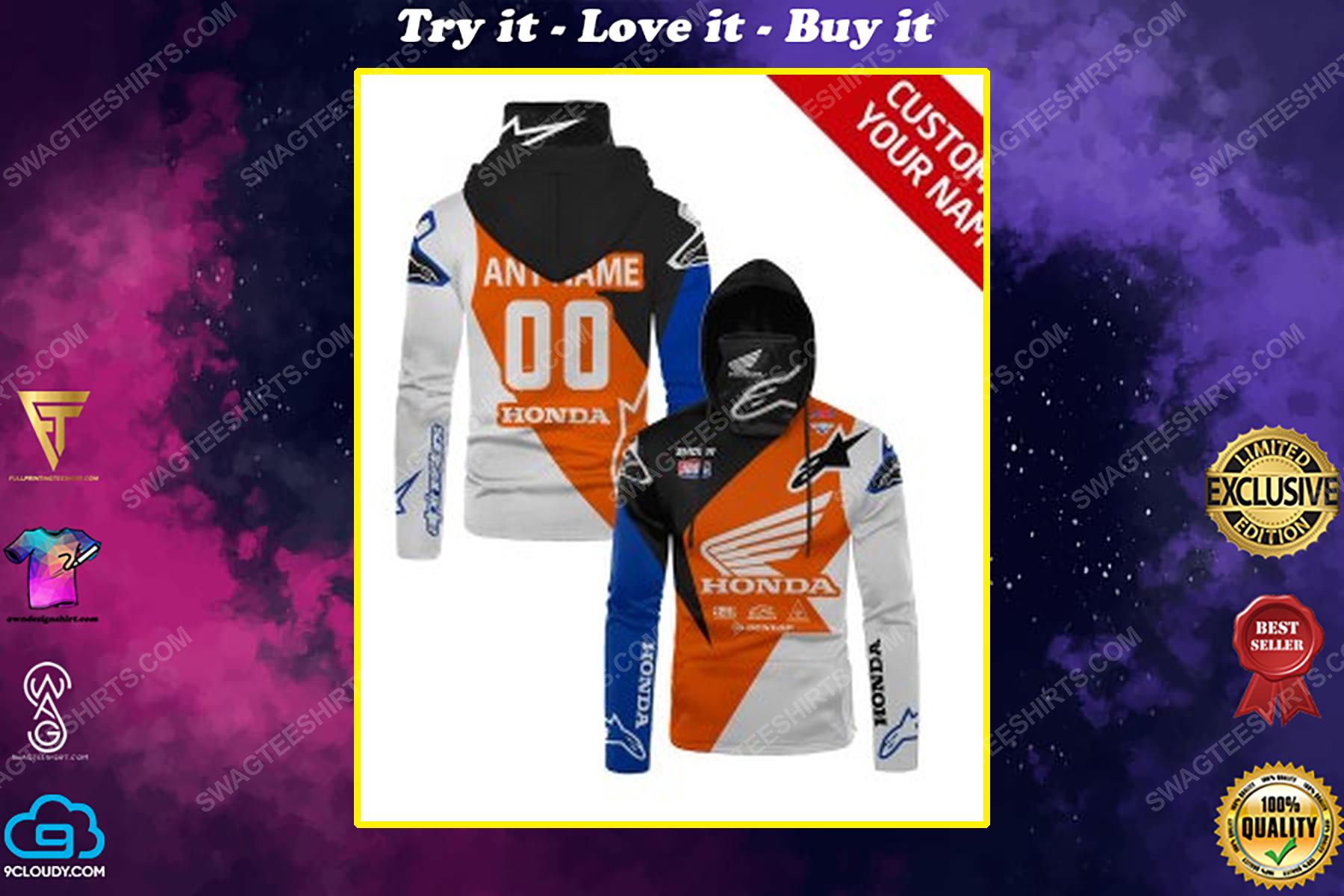 Custom name honda race full print mask hoodie