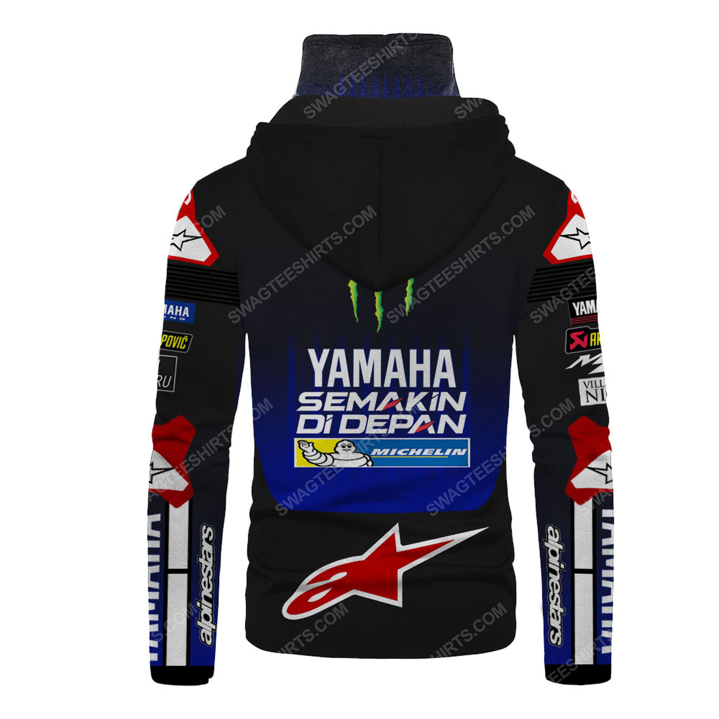 Custom name monster energy yamaha racing full print mask hoodie 3(1)