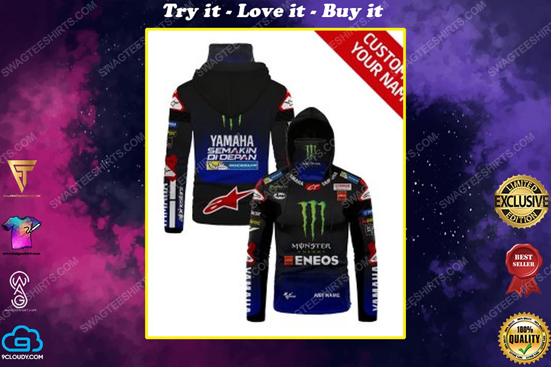 Custom name monster energy yamaha racing full print mask hoodie