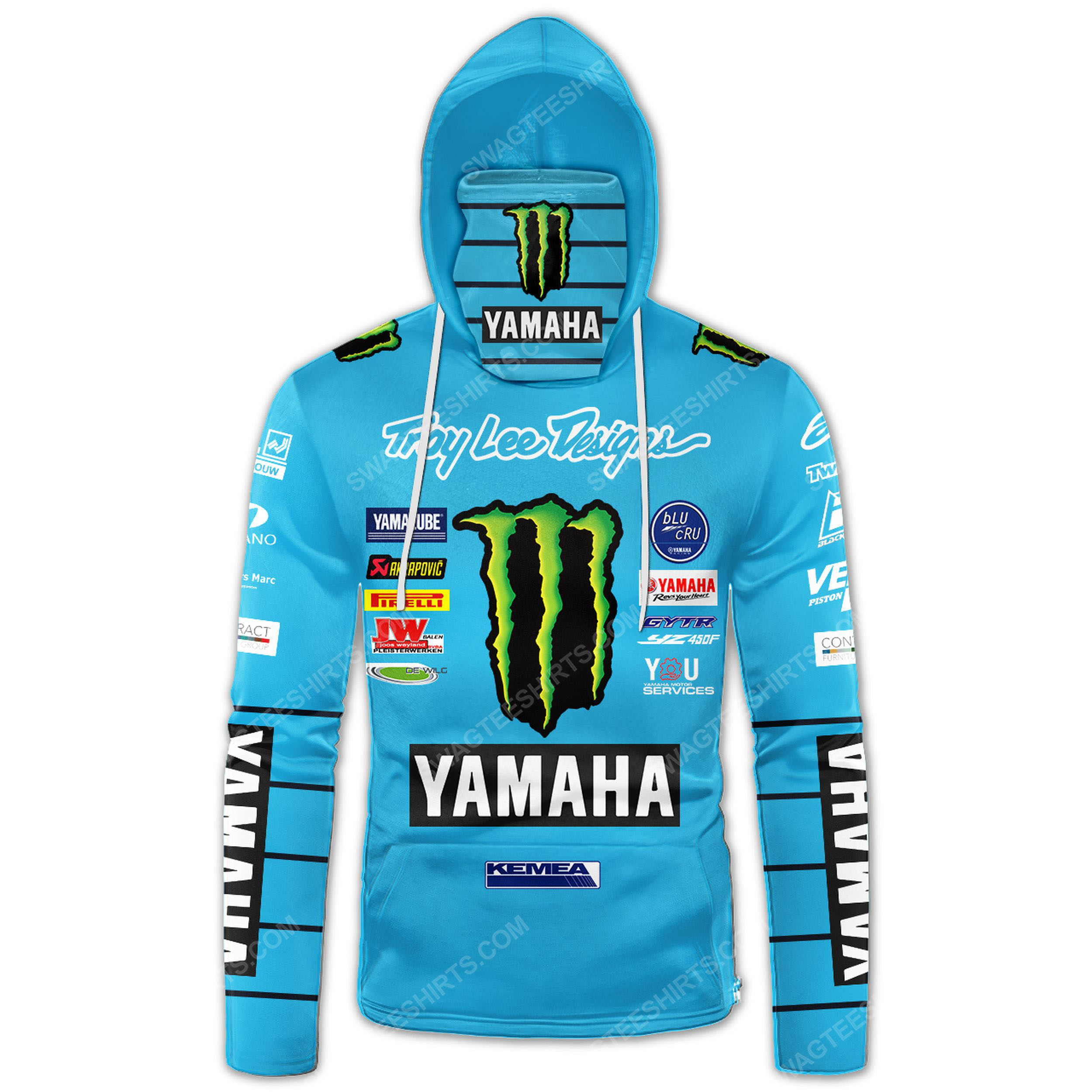 Custom name monster energy yamaha troy lee design full print mask hoodie 2(1)