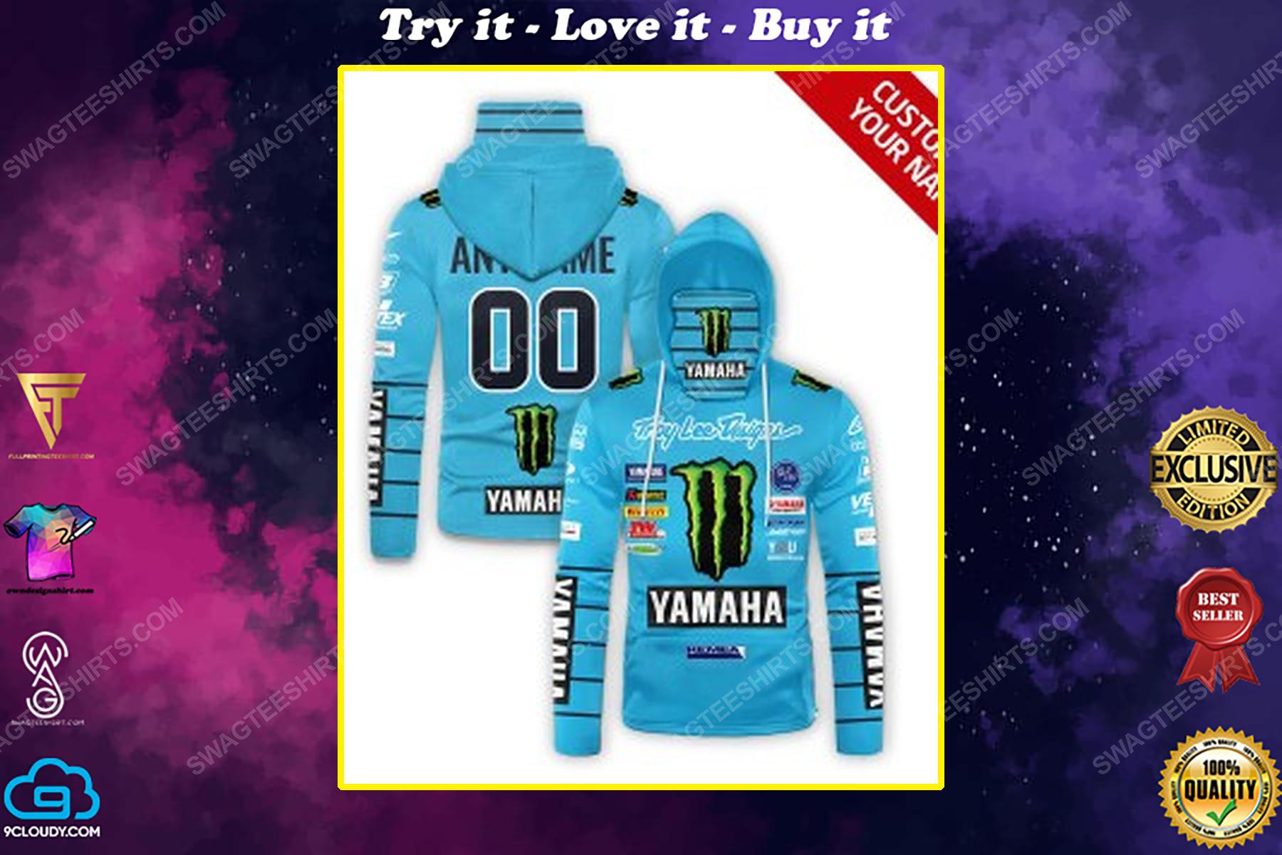 Custom name monster energy yamaha troy lee design full print mask hoodie