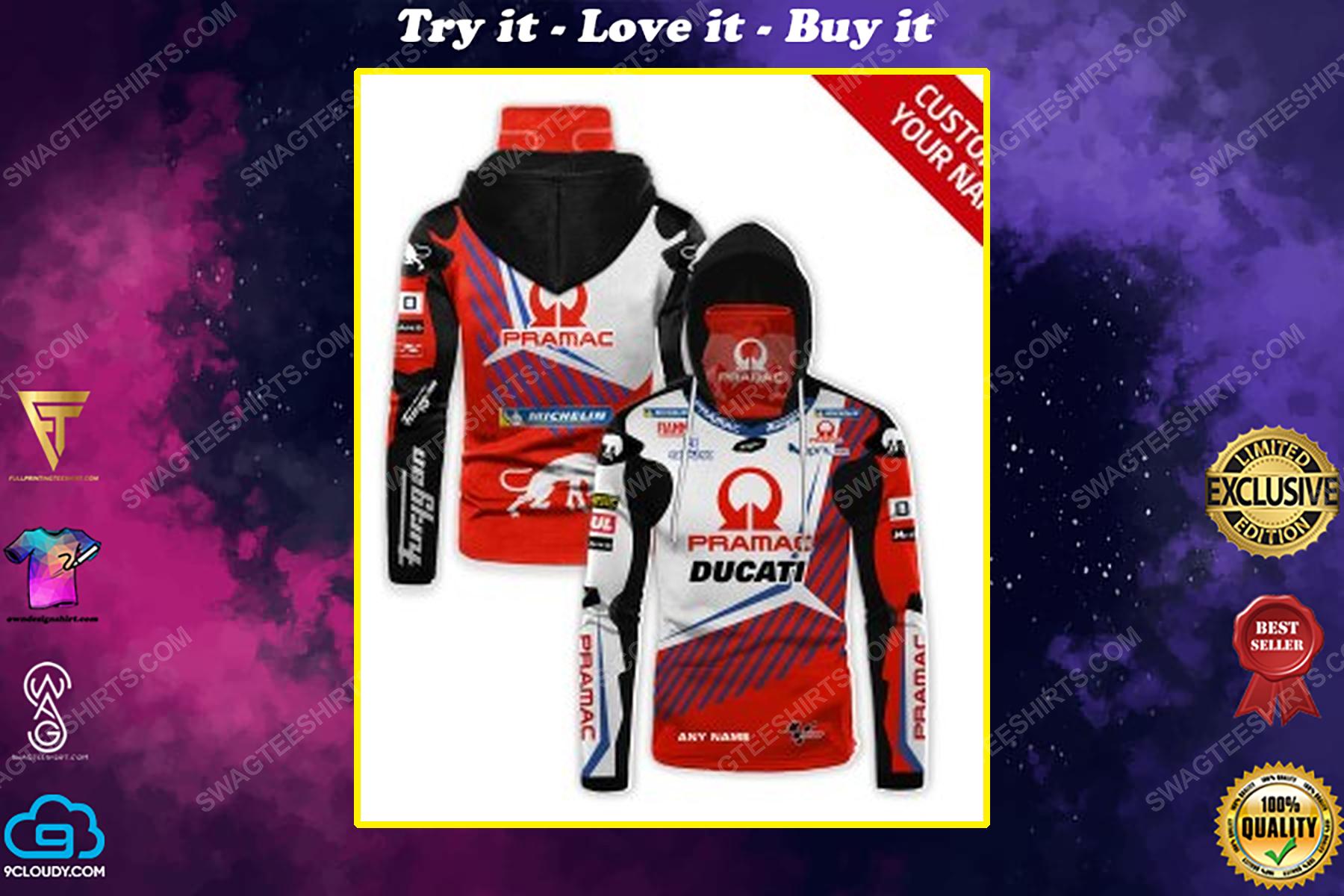 Custom name pramac racing ducati full print mask hoodie