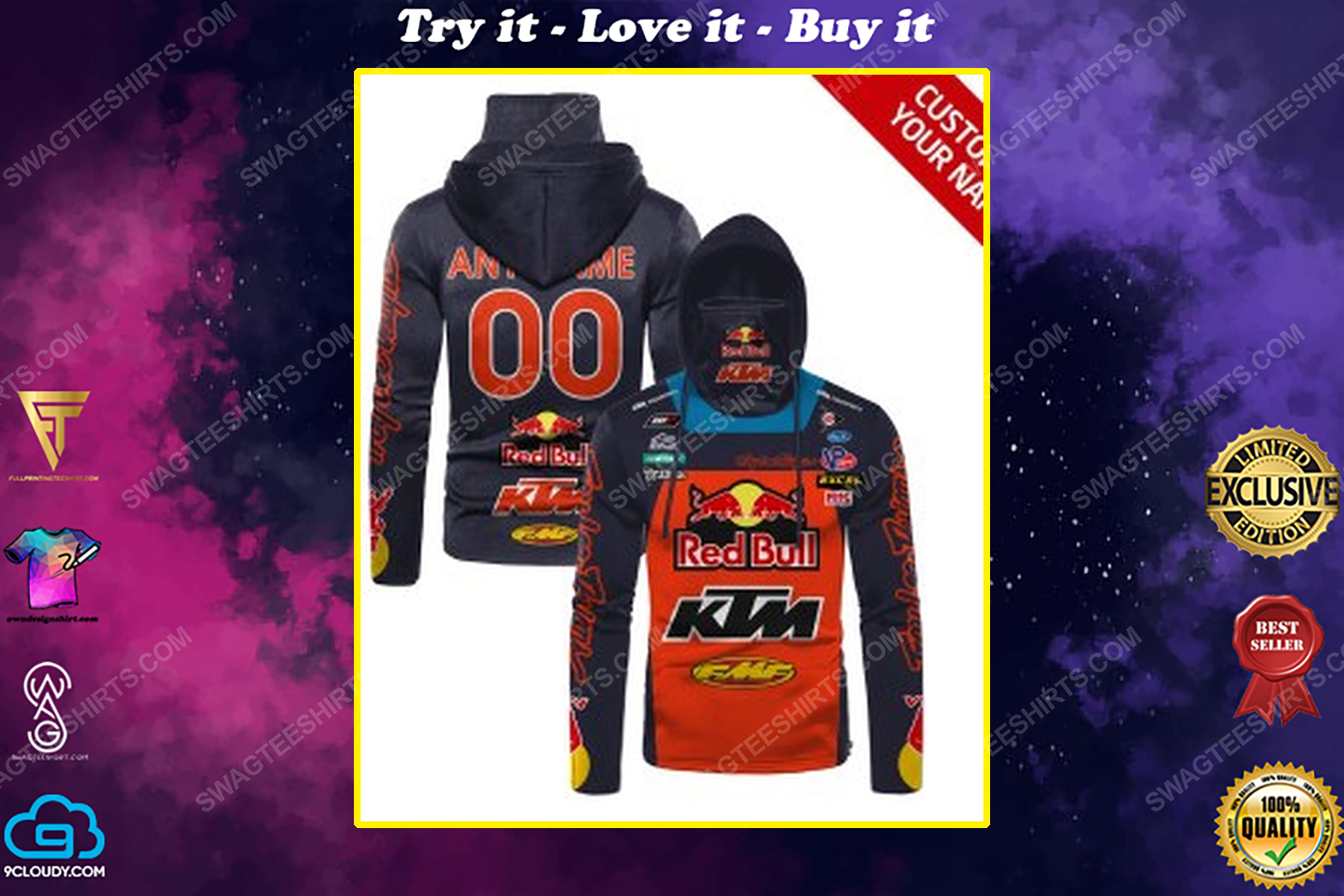 Custom name red bull ktm factory racing full print mask hoodie