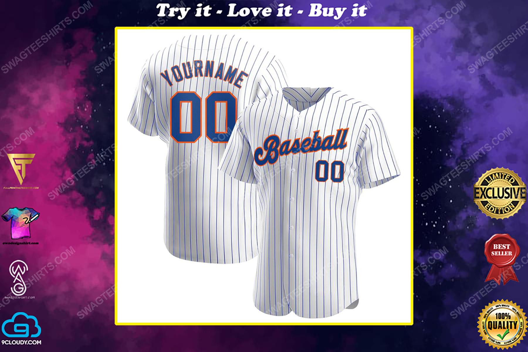 Custom name the new york mets full printed baseball jersey