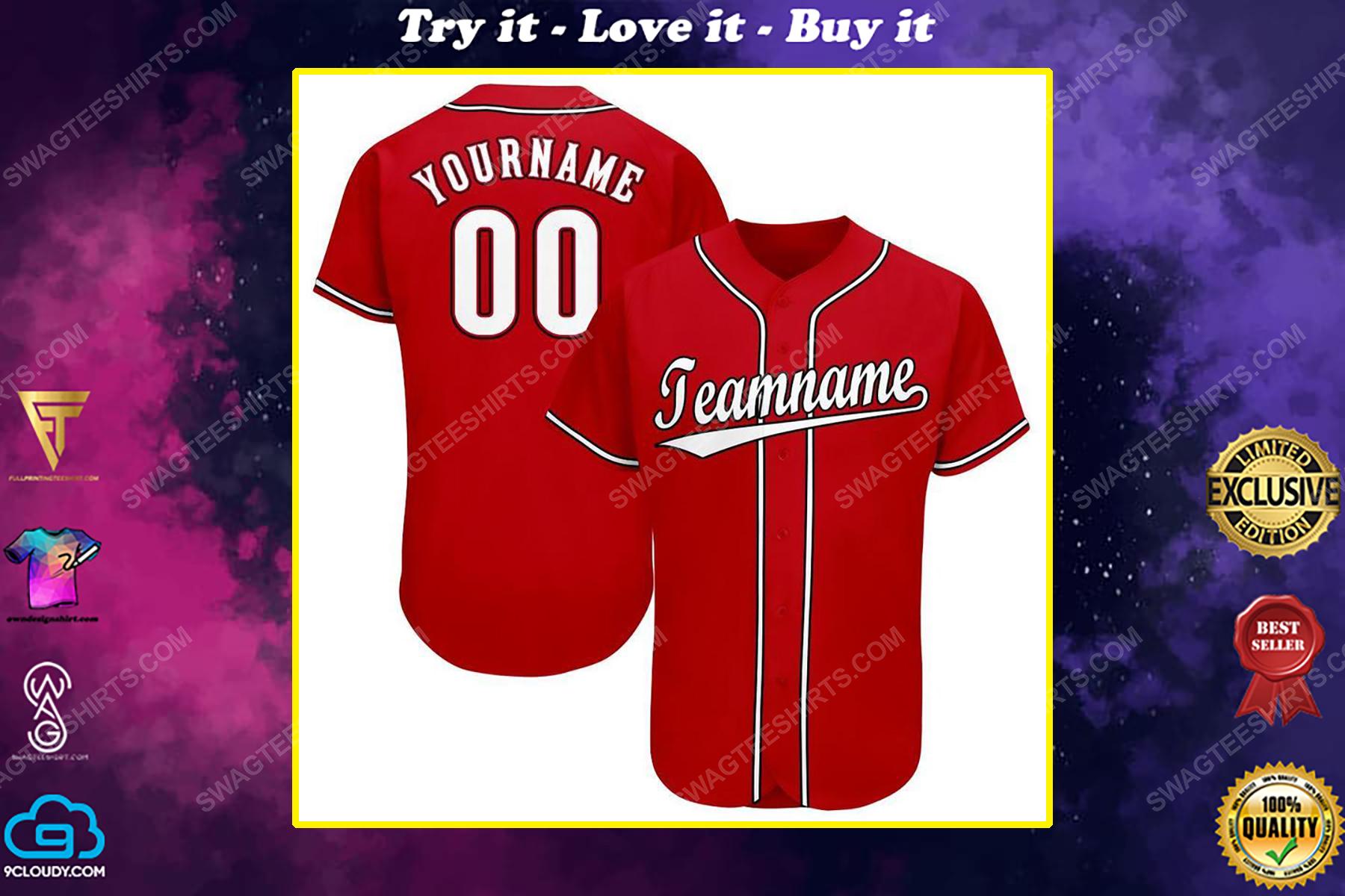Custom team name Cincinnati Reds baseball jersey