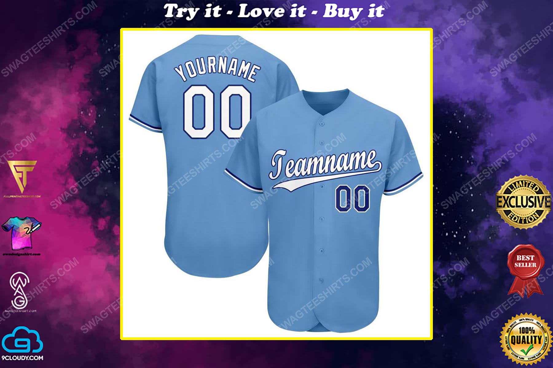 Custom team name kansas city royals mlb full printed baseball jersey