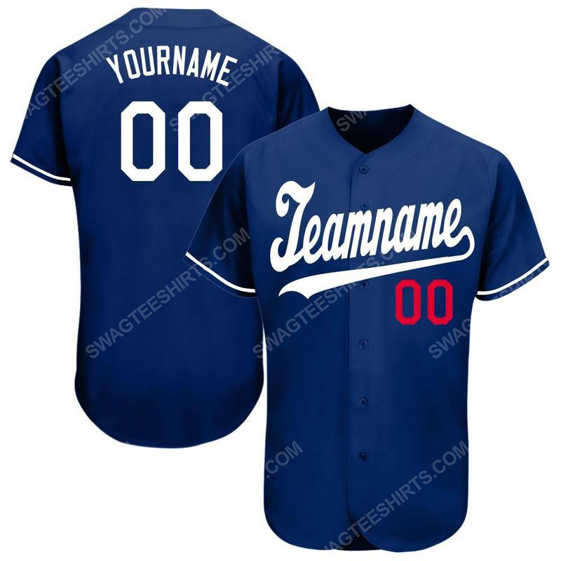 Custom team name los angeles dodgers full printed baseball jersey 1(1)