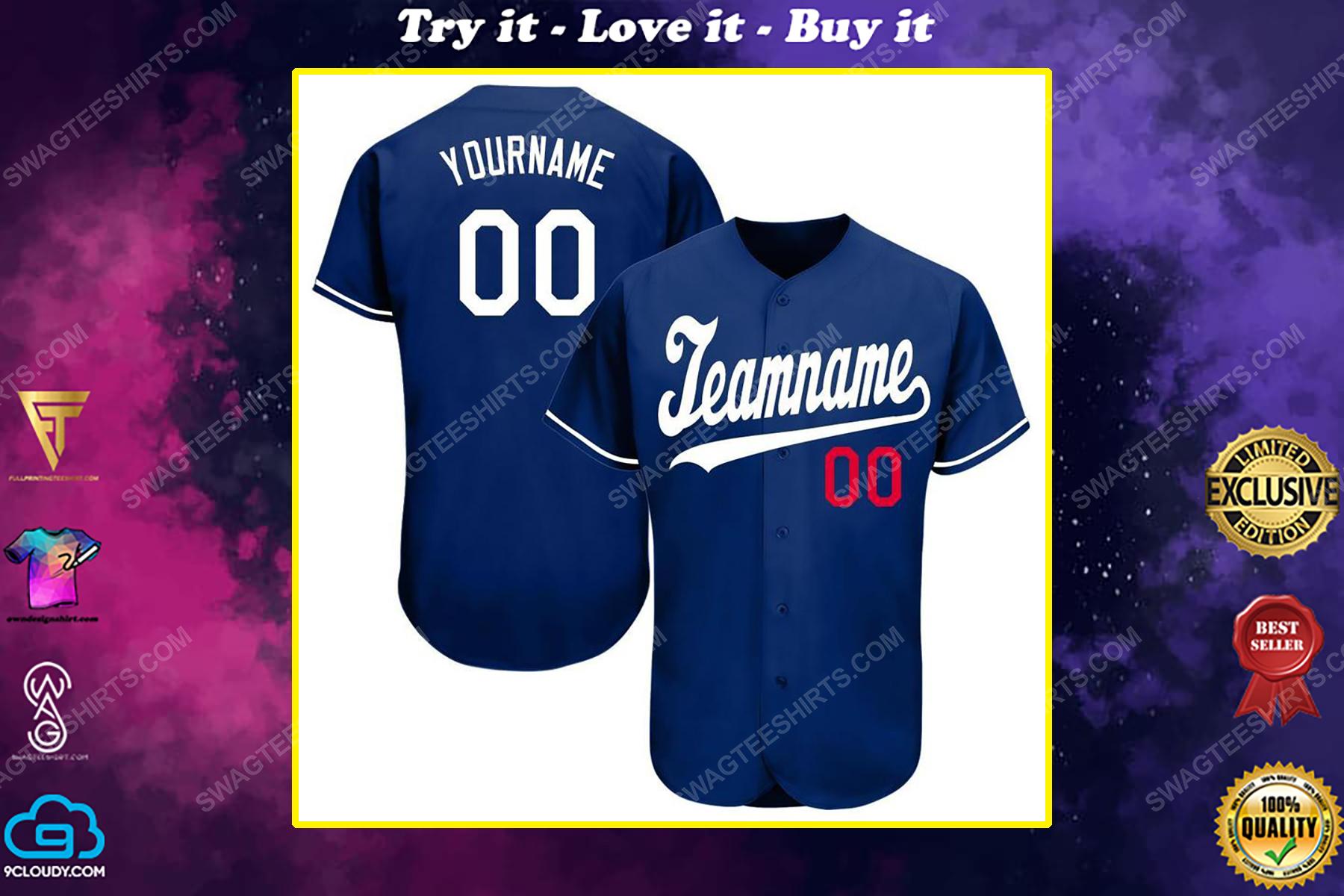 Custom team name los angeles dodgers full printed baseball jersey