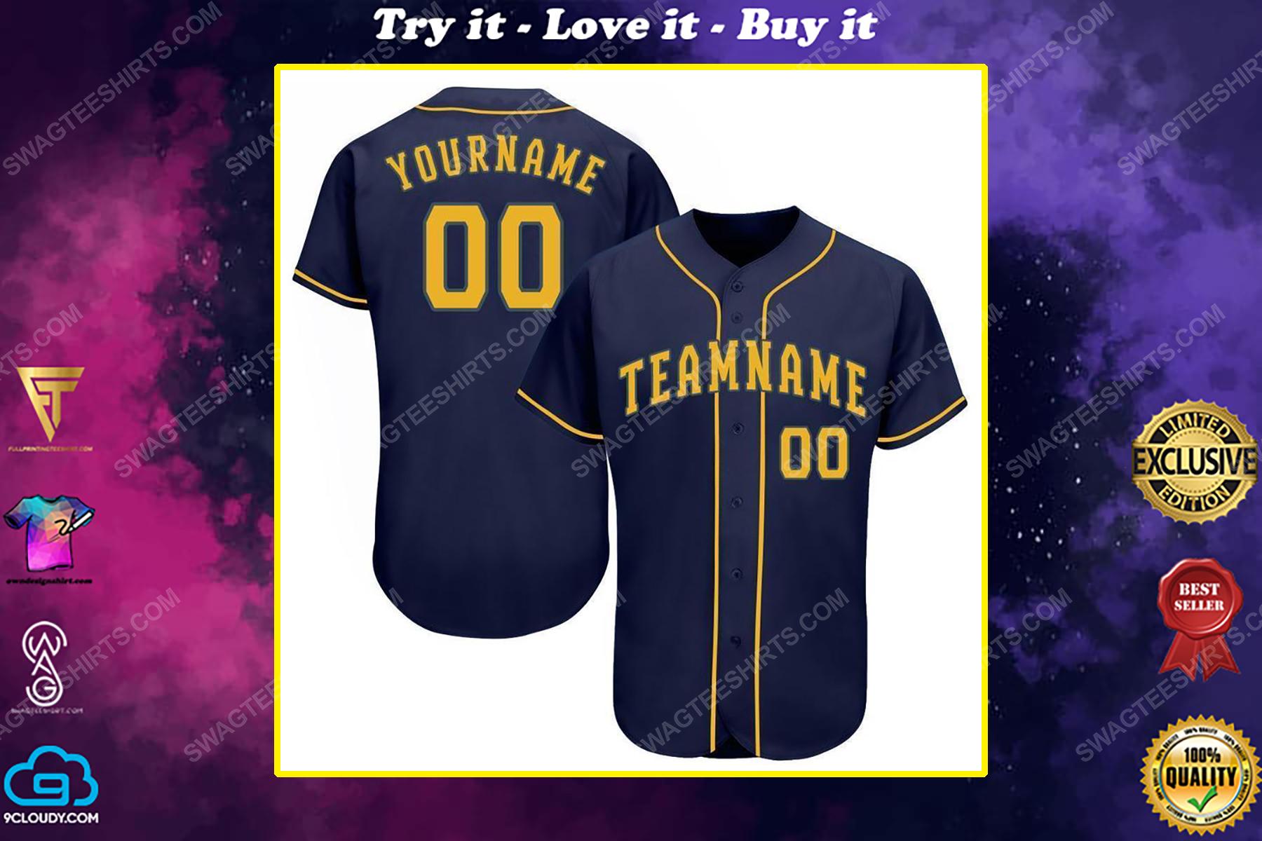 Custom team name milwaukee brewers full printed baseball jersey
