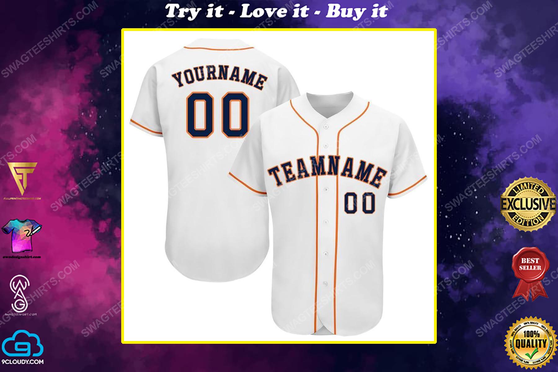 Custom team name mlb houston astros full printed baseball jersey