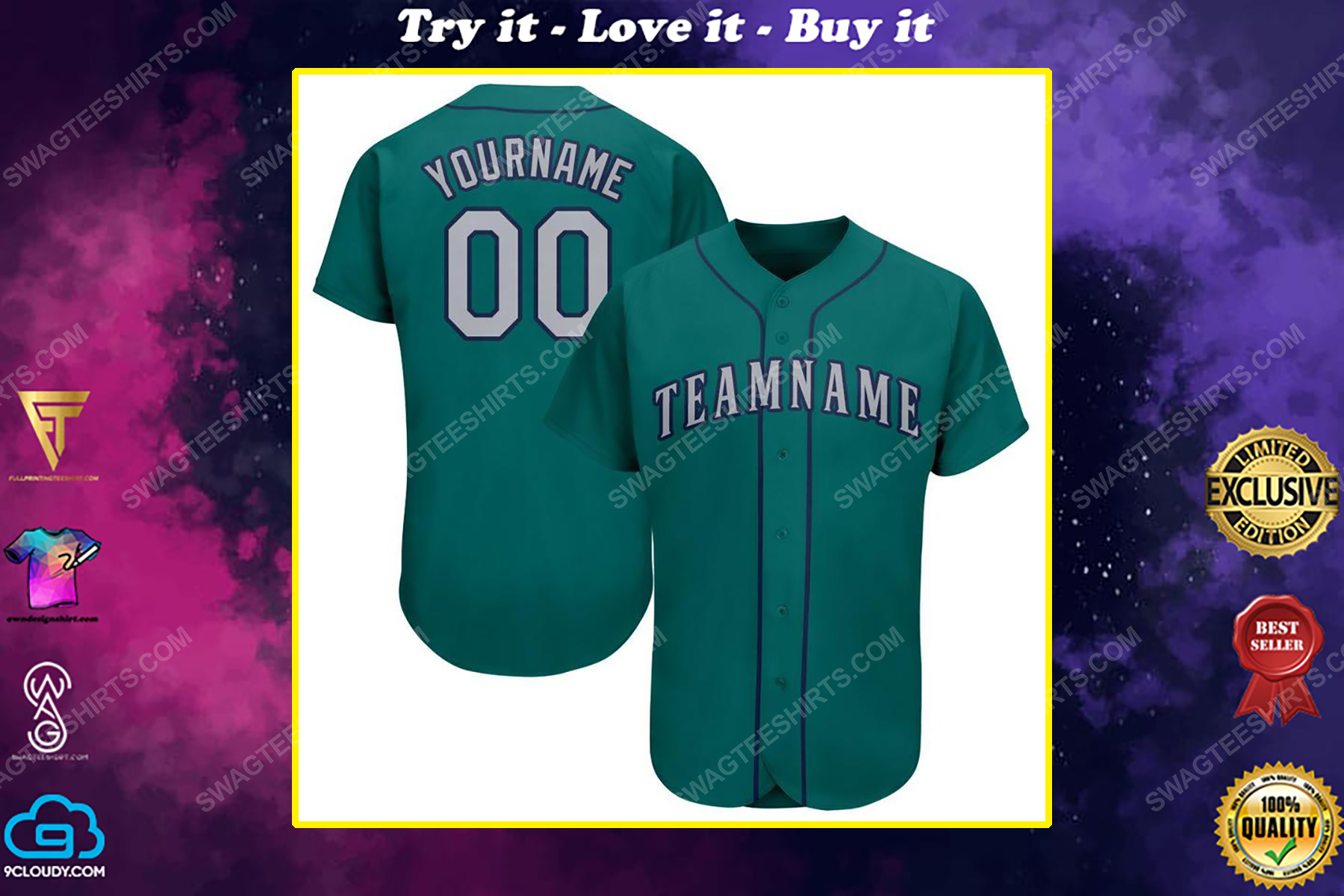 Custom team name mlb seattle mariners full printed baseball jersey
