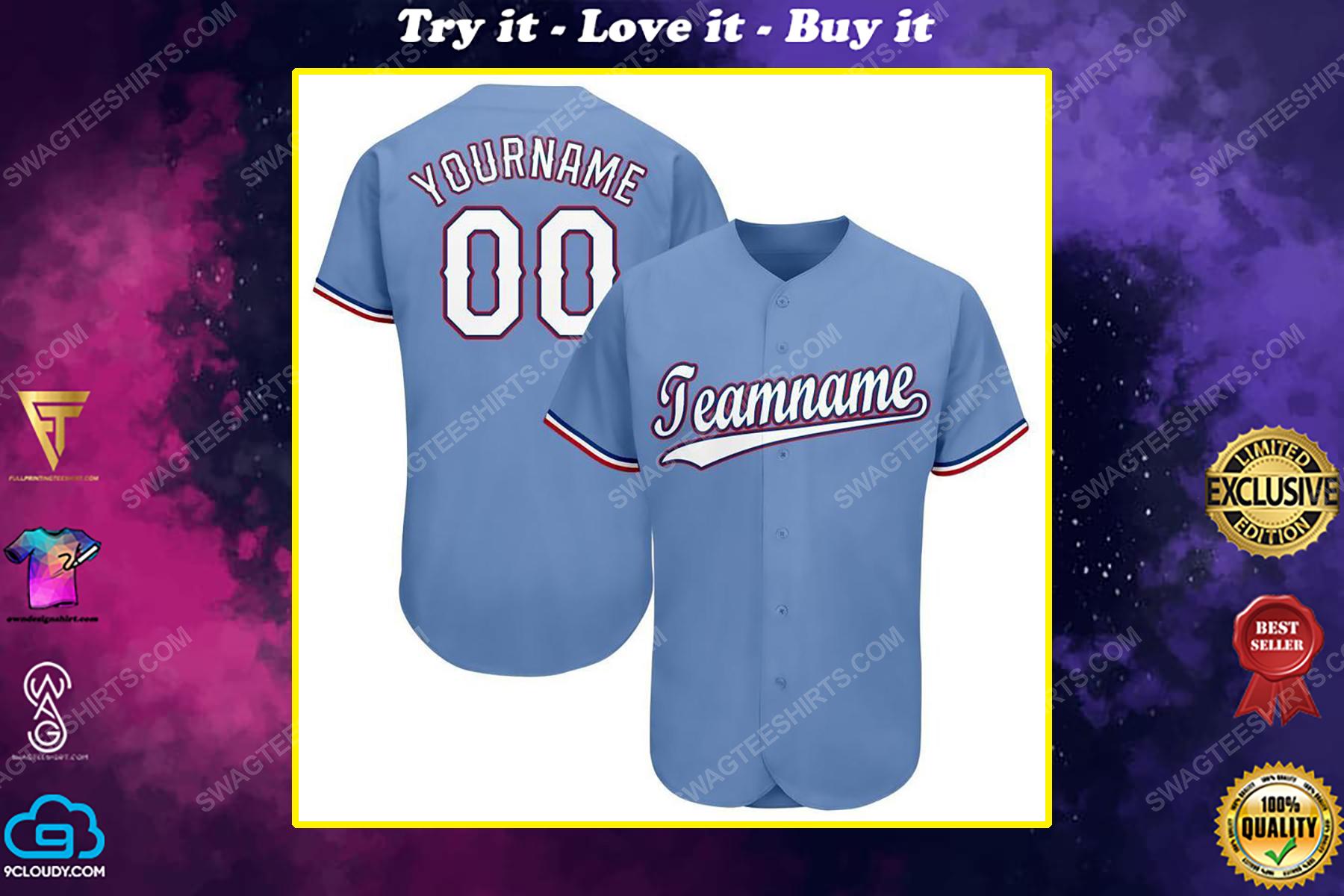 Custom team name mlb texas rangers full printed baseball jersey