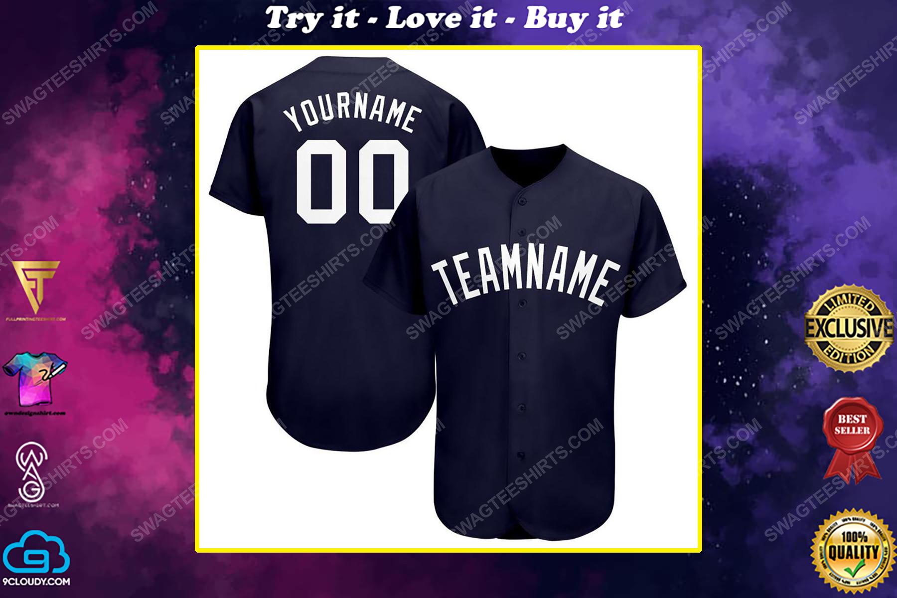 Custom team name new york yankees logo full printed baseball jersey