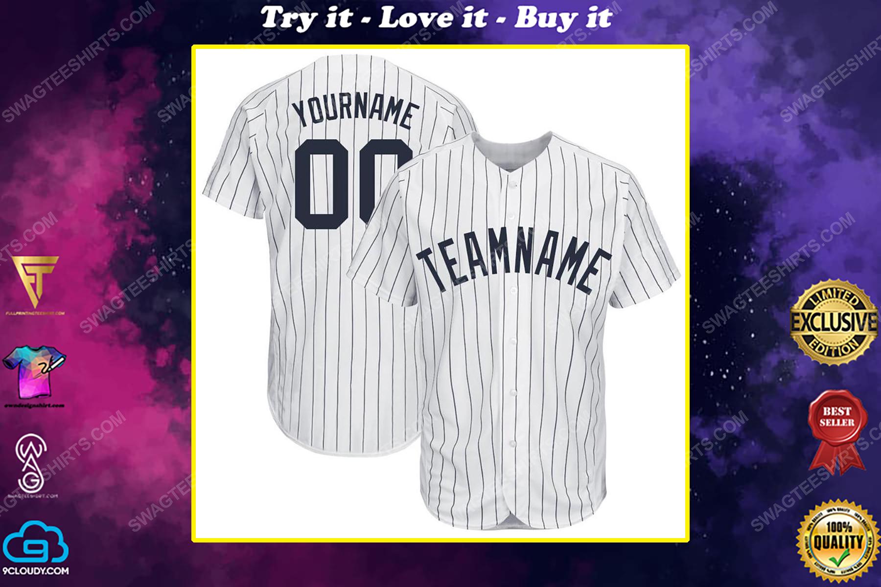 Custom team name new york yankees mlb full printed baseball jersey