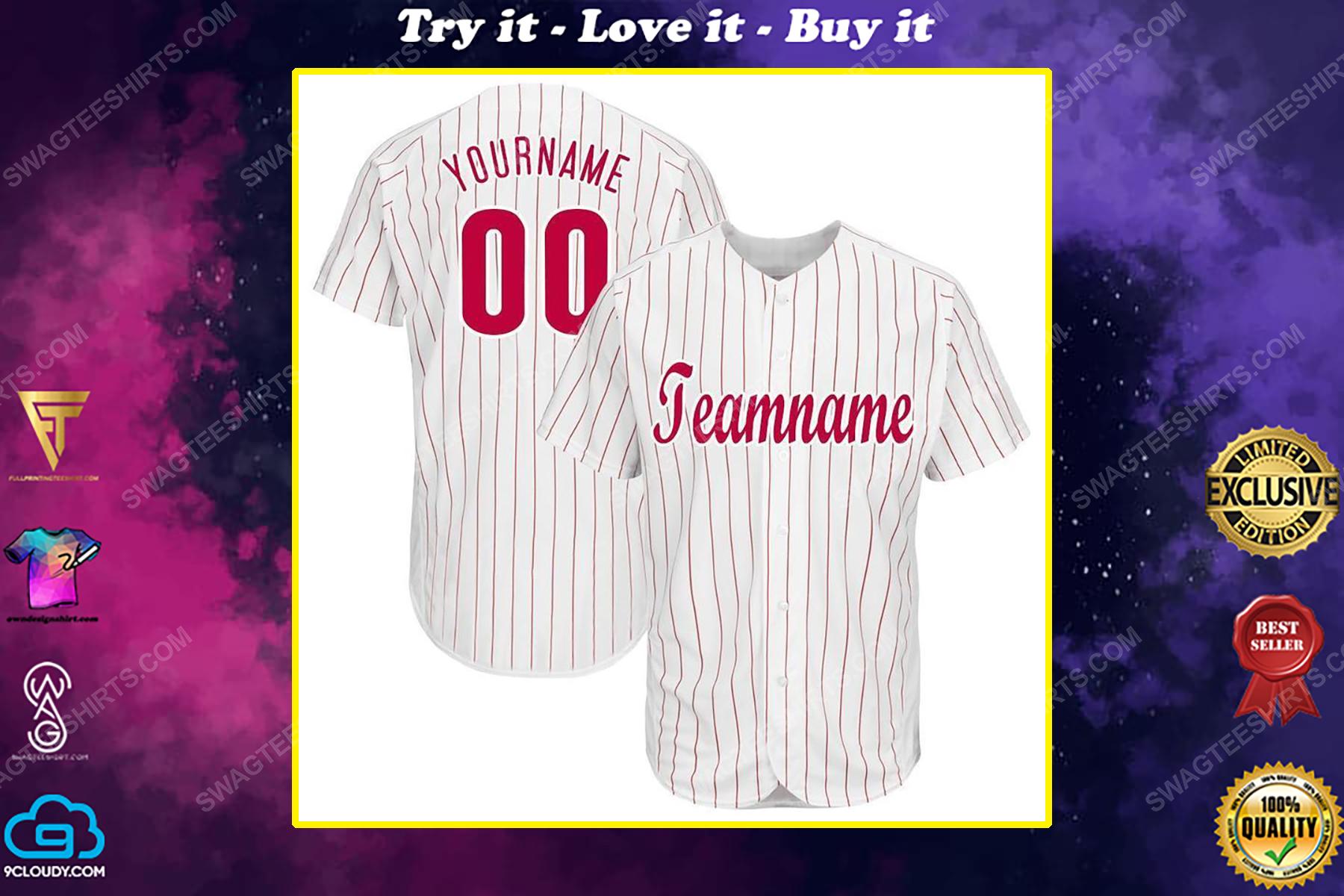 Custom team name philadelphia phillies full printed baseball jersey
