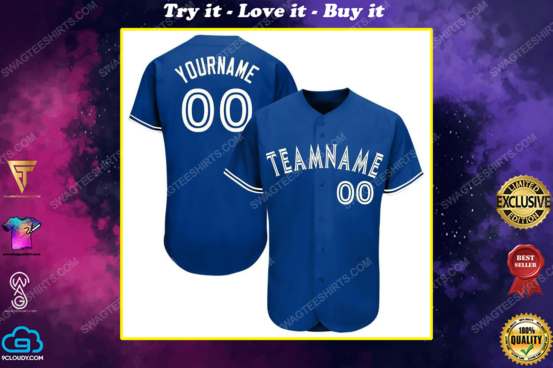 Custom team name toronto blue jays full printed baseball jersey
