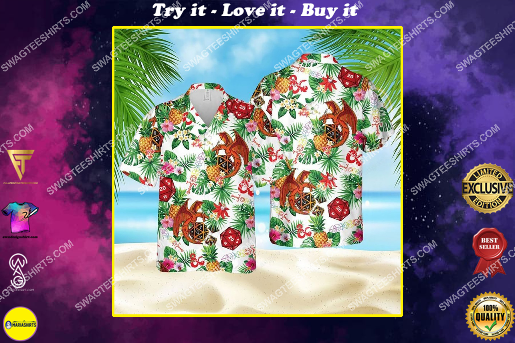 Dice pineapple dragon dice game summer vacation hawaiian shirt