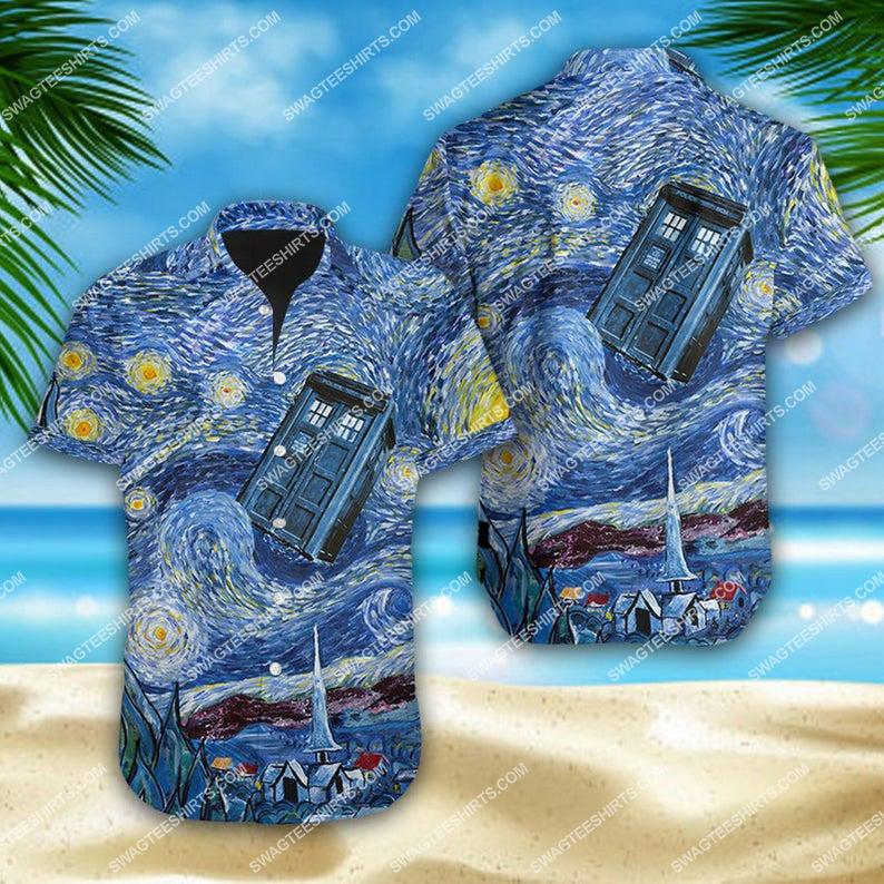 Doctor who tardis starry night summer vacation hawaiian shirt 1 - Copy (2)