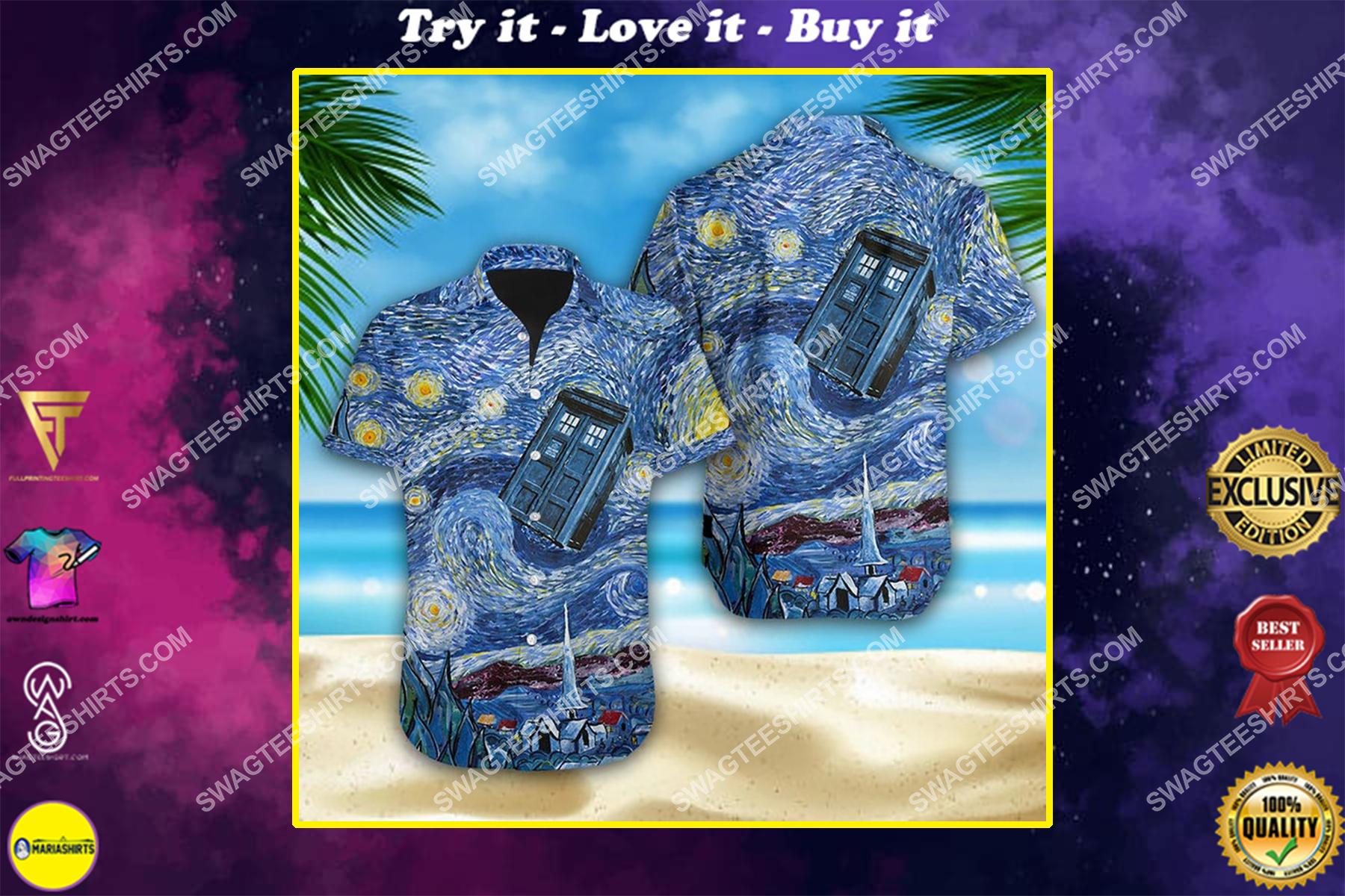 Doctor who tardis starry night summer vacation hawaiian shirt