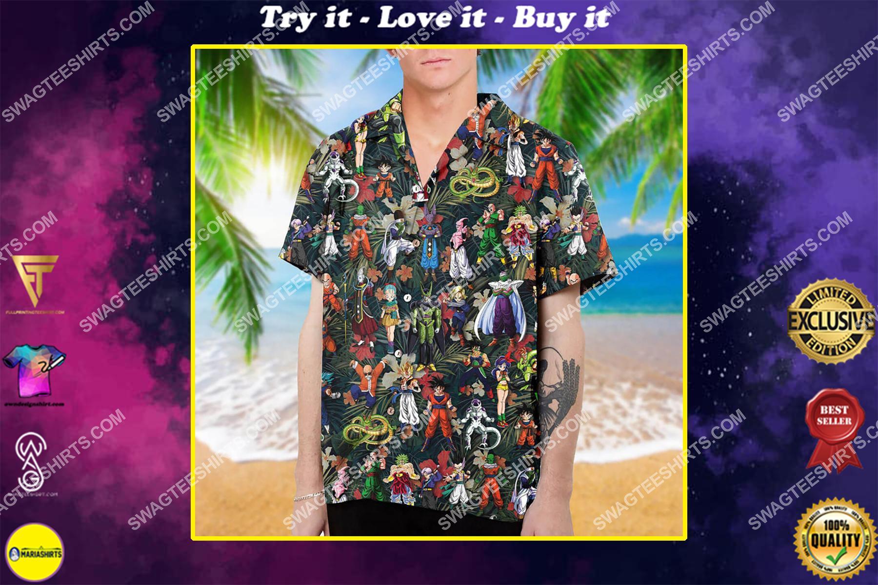 Dragon ball z characters summer vacation hawaiian shirt