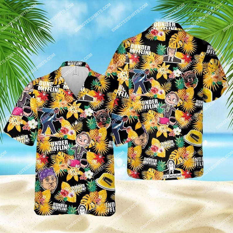 Dunder mifflin paper company the office tv show hawaiian shirt 1