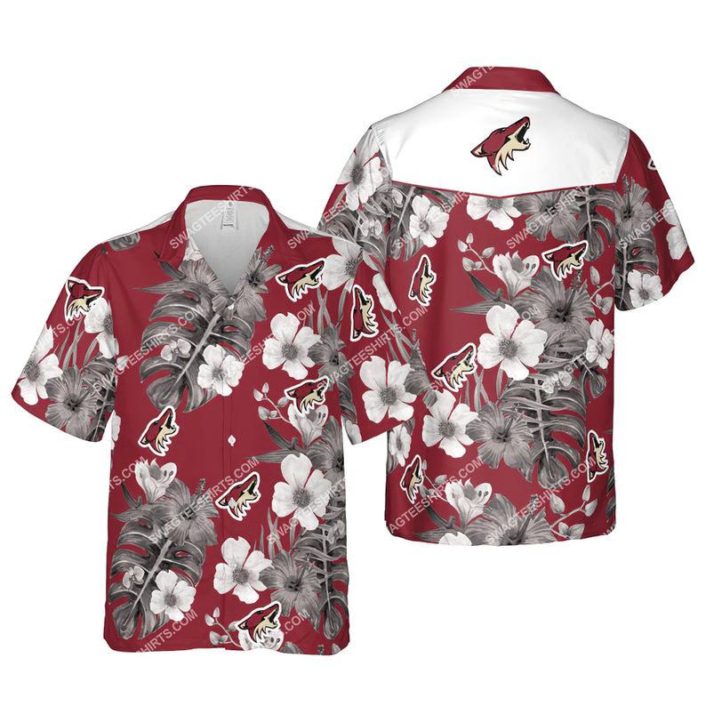 Floral arizona coyotes nhl summer vacation hawaiian shirt 1
